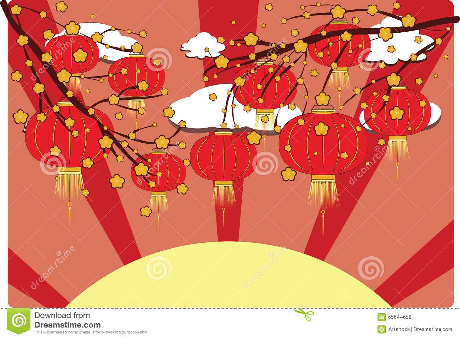 Lanterne chinoise avec Sakura Branch