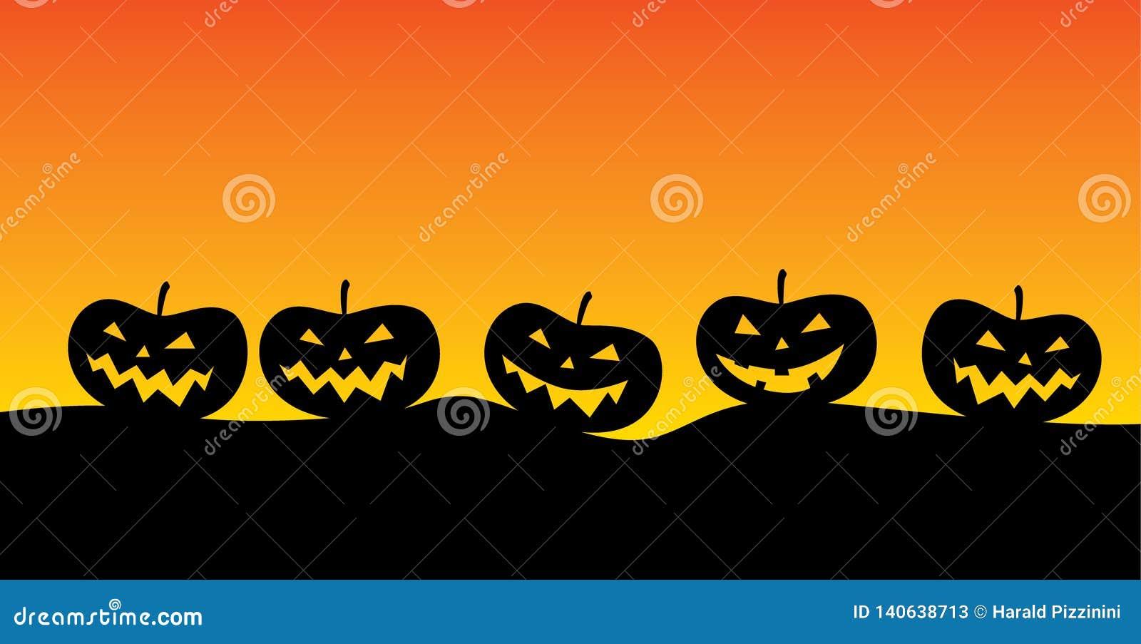 Lanterne de ` de Jack o dans un paysage morne typique pour la période de Halloween