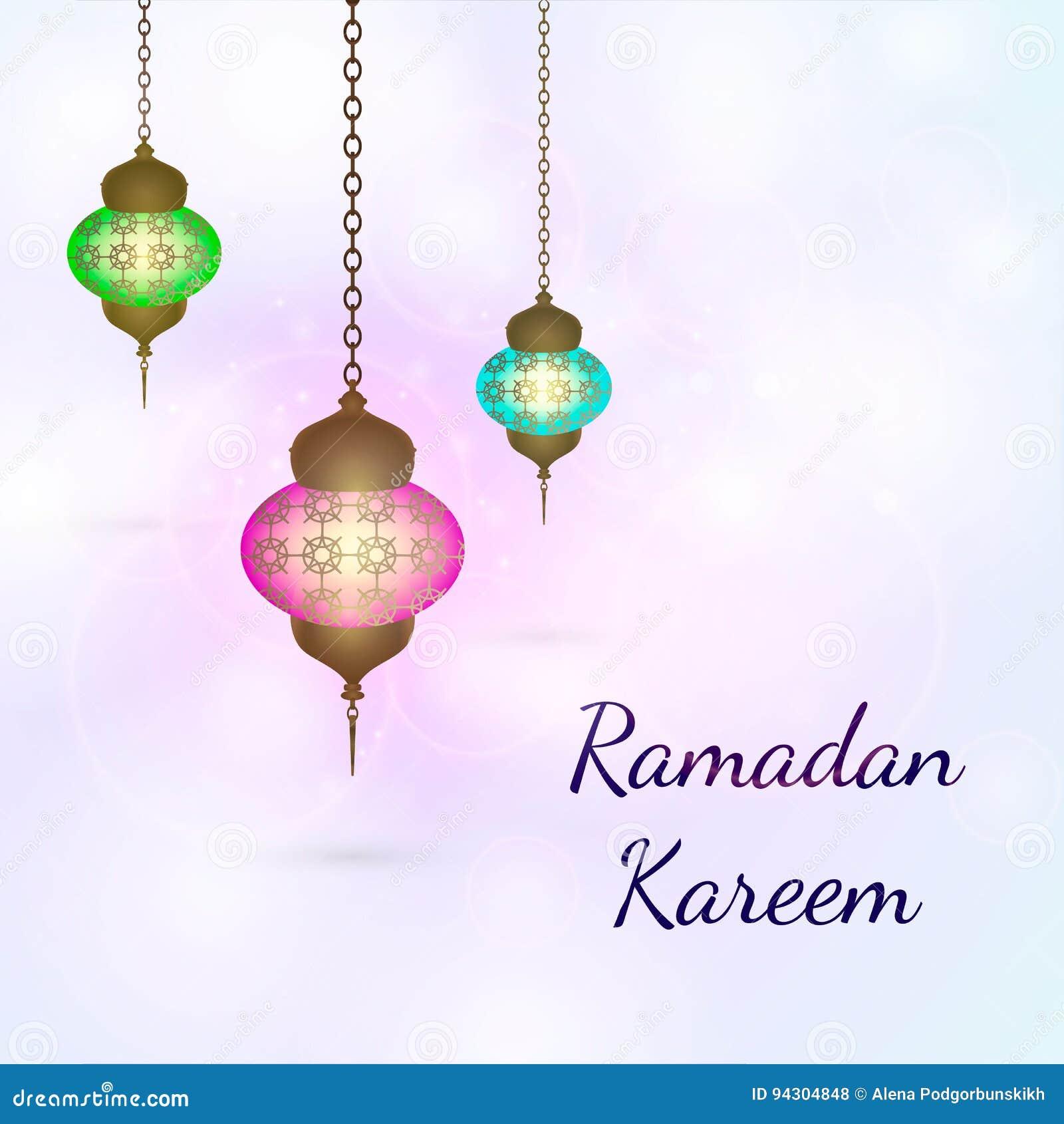 Lanterne De Ramadan Kareem Sur Un Fond De Texture D Etincelle