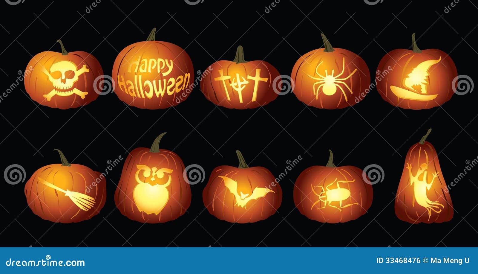 Lanternes de potiron de Halloween la nuit