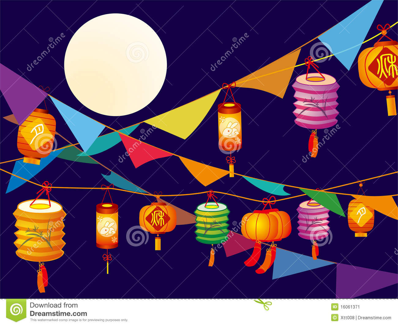 Download Lanterns stock vector. Illustration of card, sweet, bright - 16061371