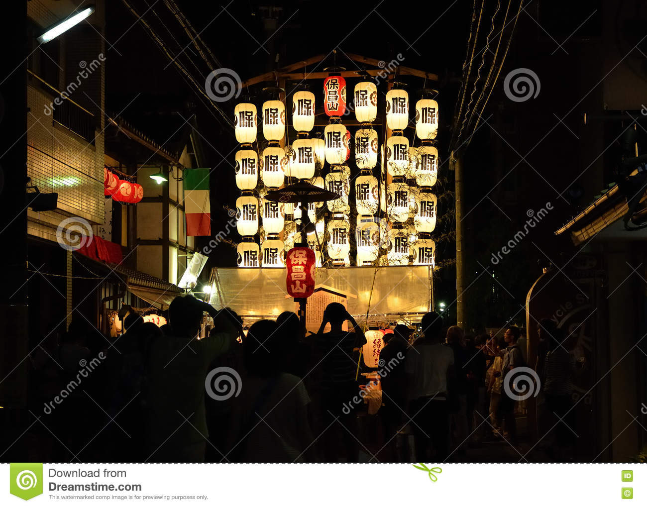 Lanterns of Gion festival, Kyoto Japan in July.