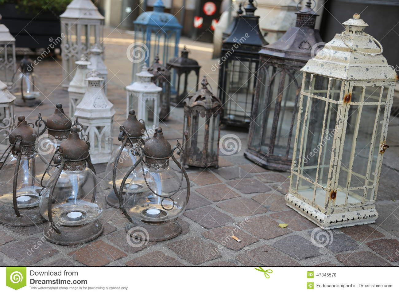 Lanterns And Lights For Sale At Flea Market Stock Photo Image Of Lantern Light 47845570