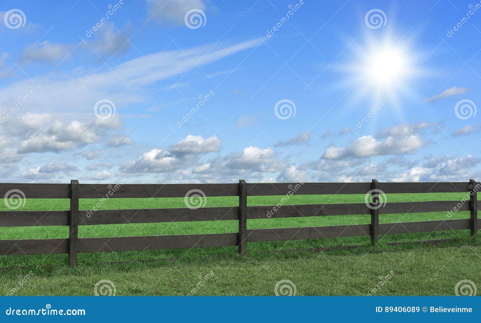 Lantgård Fält med gräs och ett staket