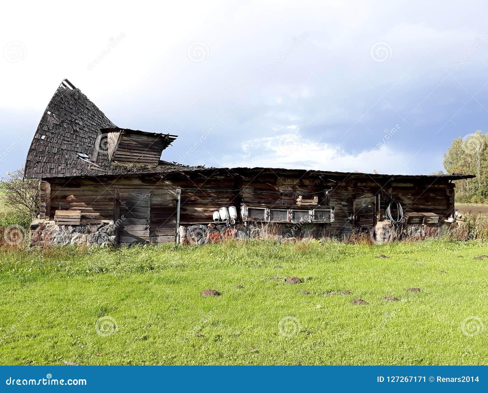 Lantgård för spring för forntida skadat tak för ladugårdladugård dålig