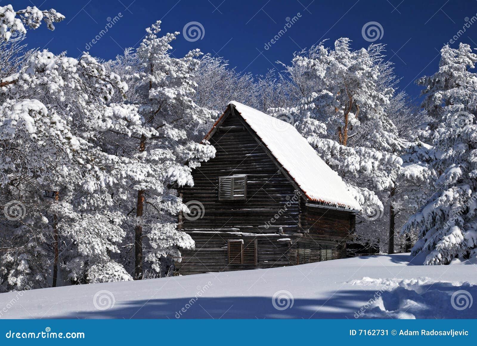 Lantlig snow för hus