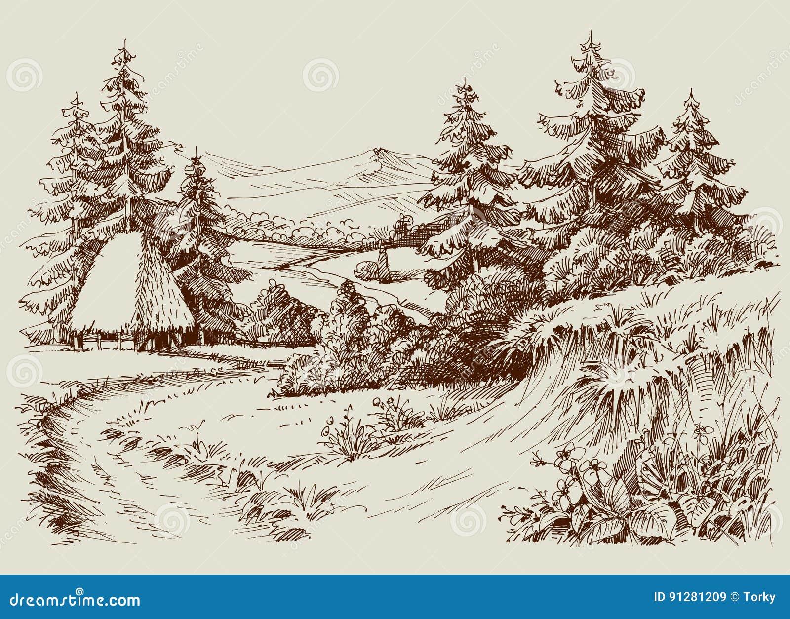 Lantligt hus i alpint landskap