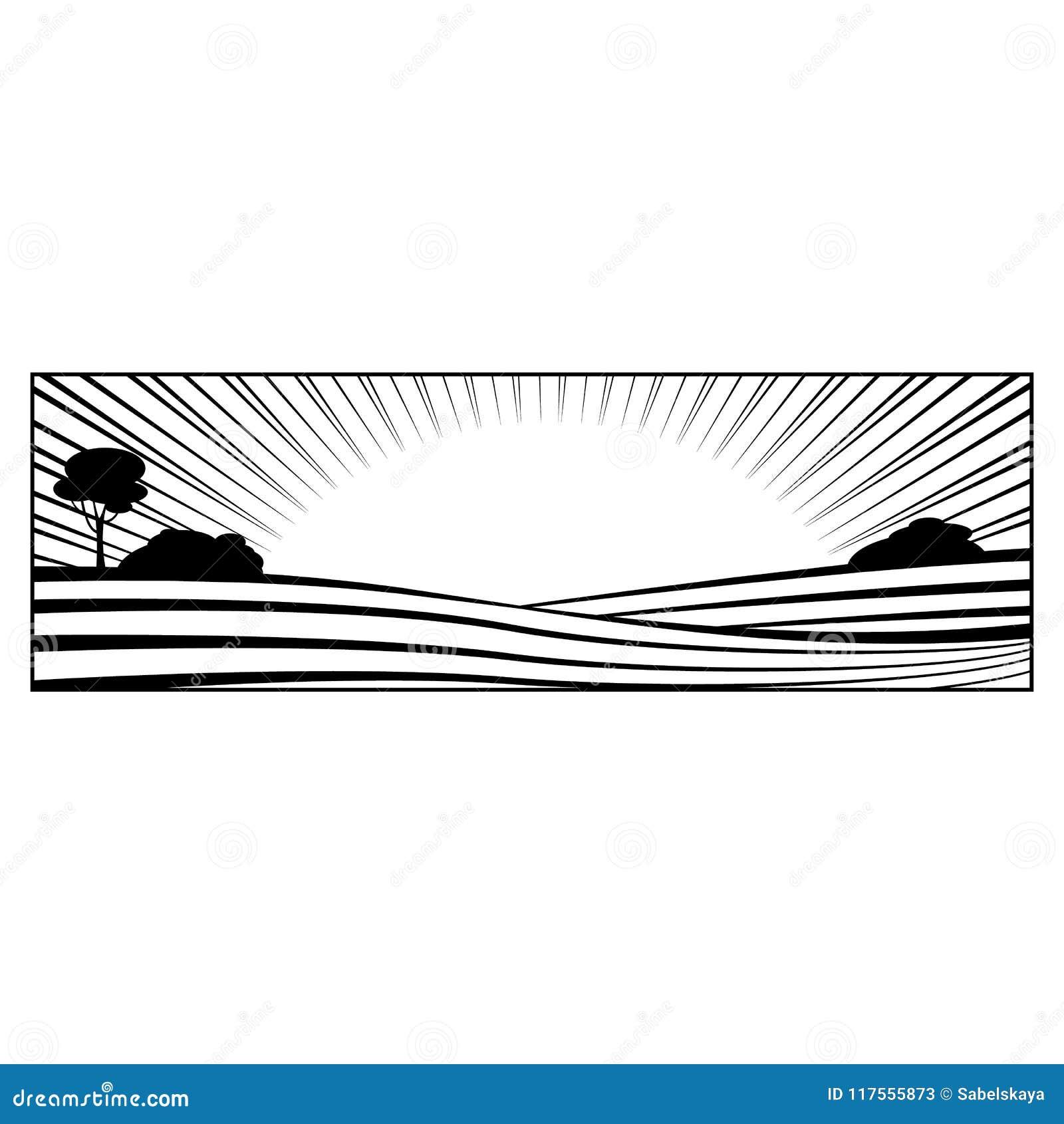 Lantligt landskap med kullar och den monokromma konturn för fält som isoleras på vit bakgrund