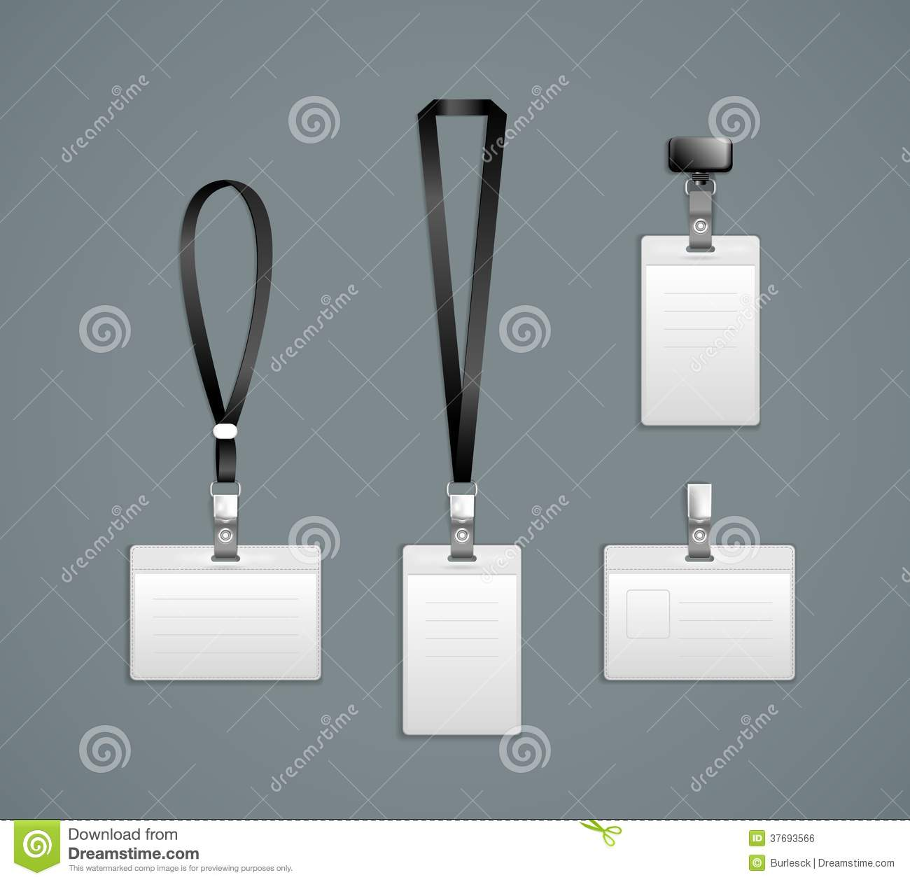 Lanyard, Name Tag Holder End Badge Templates Stock Photography ...