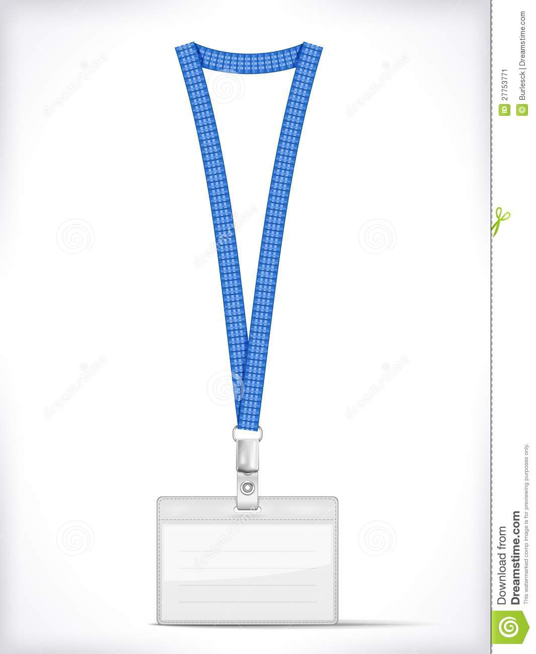 Lanyard with Tag Badge Holder isolated on white. Vector Illustration.