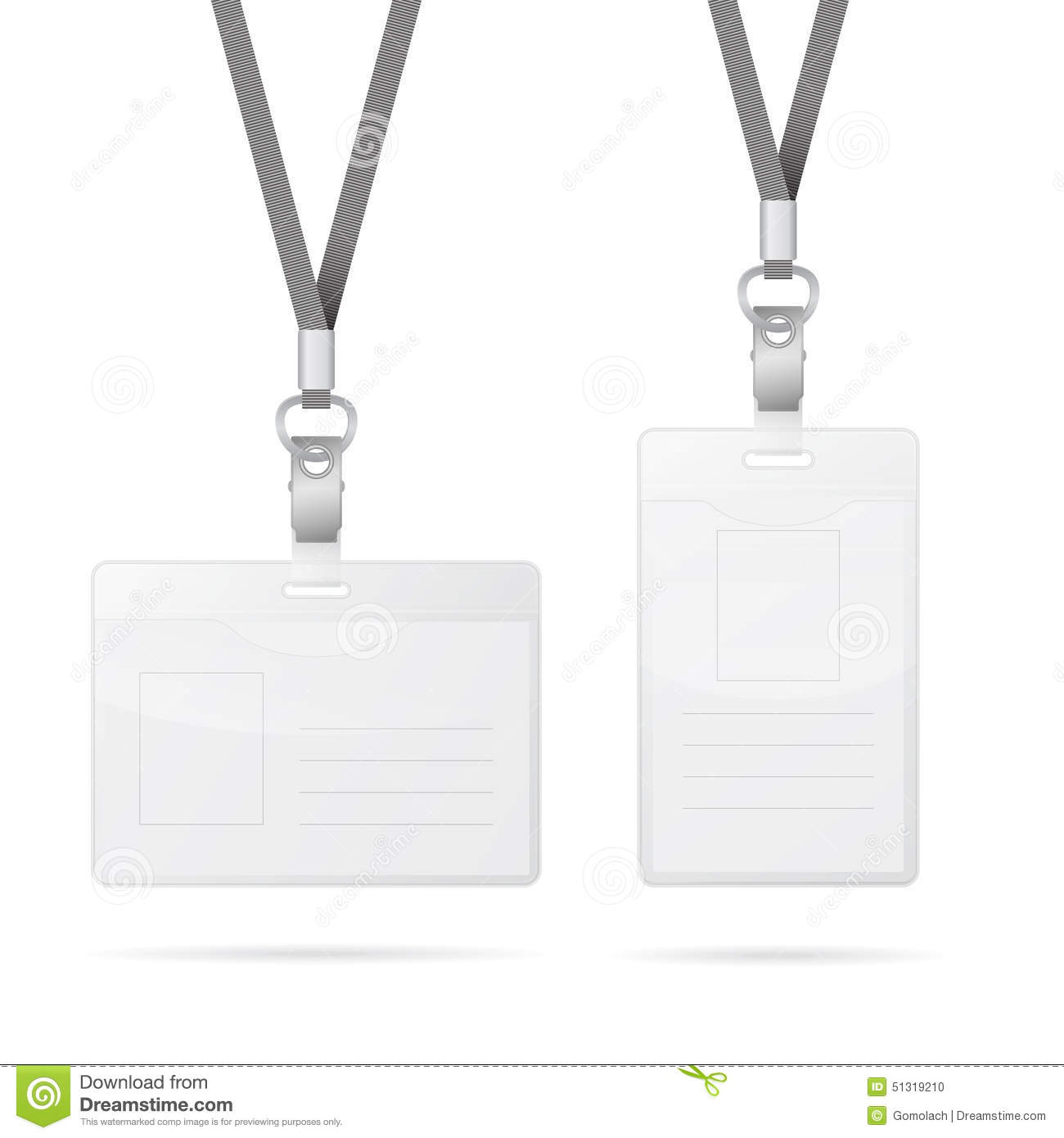 lanyard with transparent empty vertical and horizontal