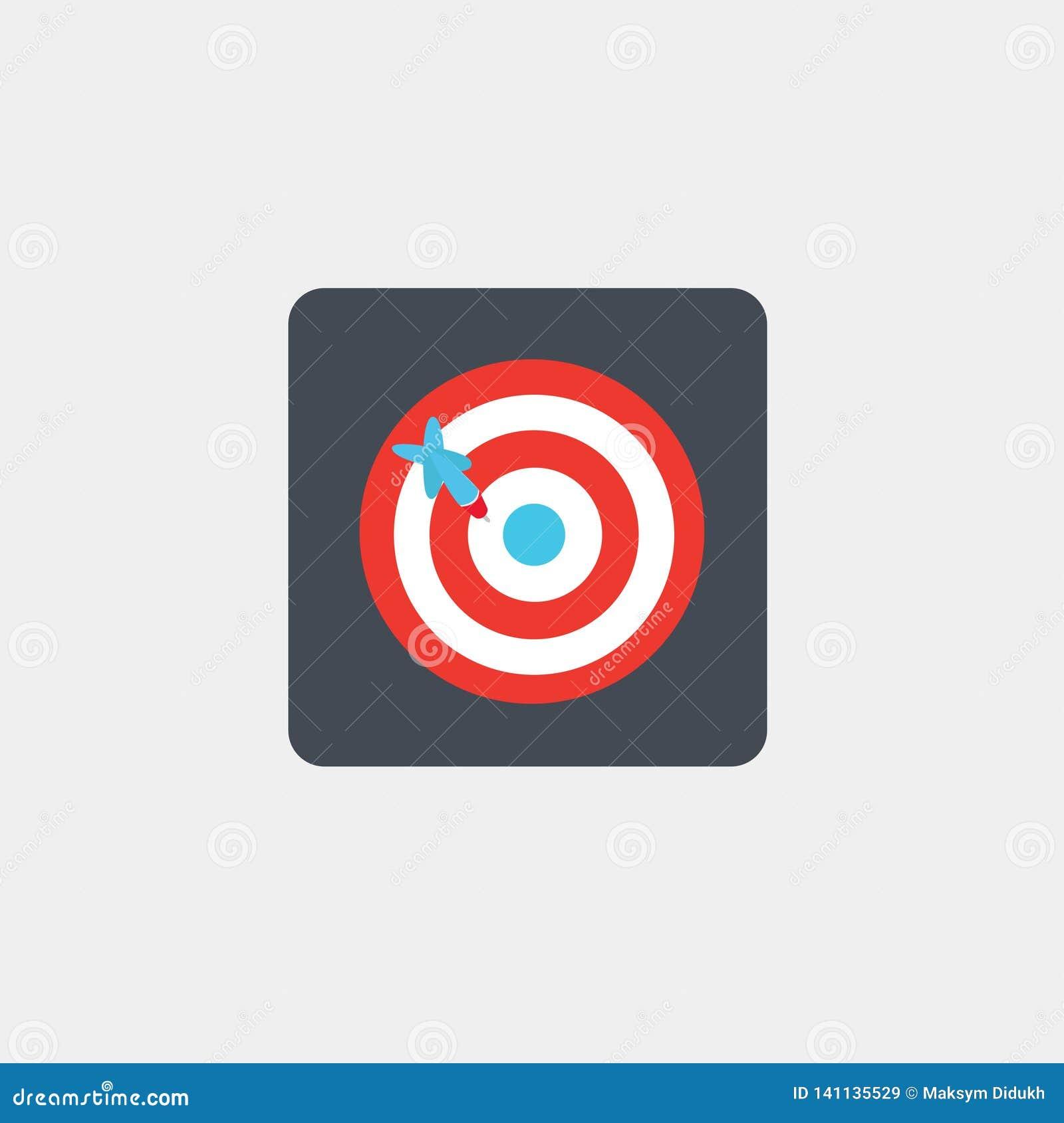 Lanza el juego dartboard icono LOGOTIPO Ilustración del vector EPS 10