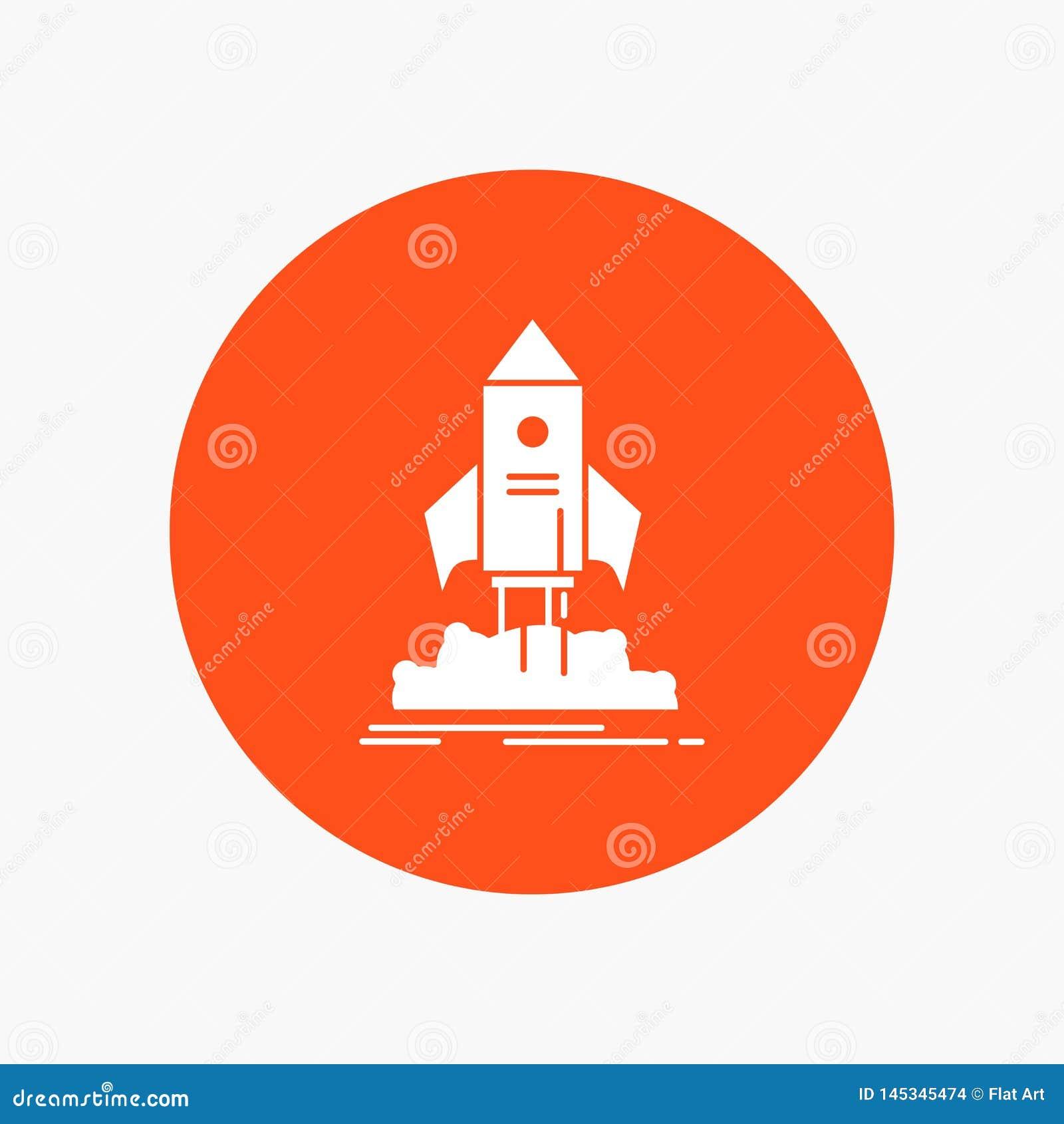 Lanzamiento, inicio, nave, lanzadera, icono blanco del Glyph de la misión en círculo Ejemplo del bot?n del vector