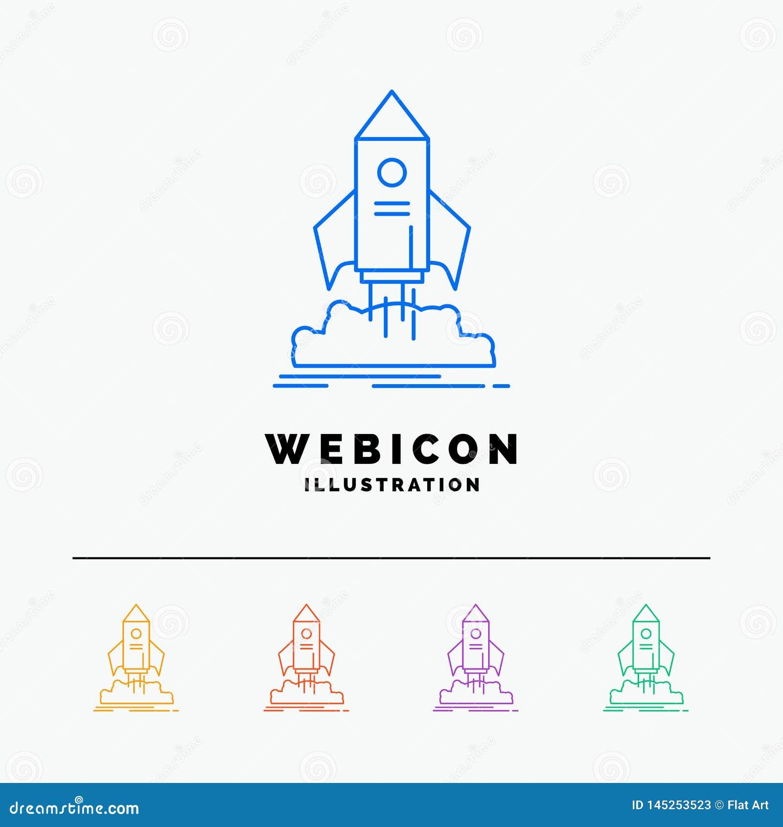 Lanzamiento, inicio, nave, lanzadera, línea de color de la misión 5 plantilla del icono de la web aislada en blanco Ilustraci?n d