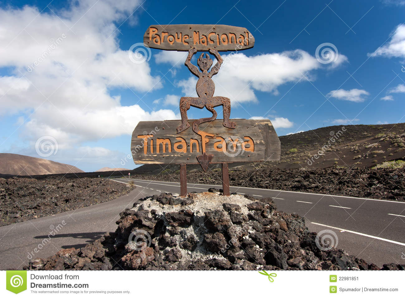 Lanzarote, Canary Islands. Devil's sculpture at entrance of Timanfaya ...