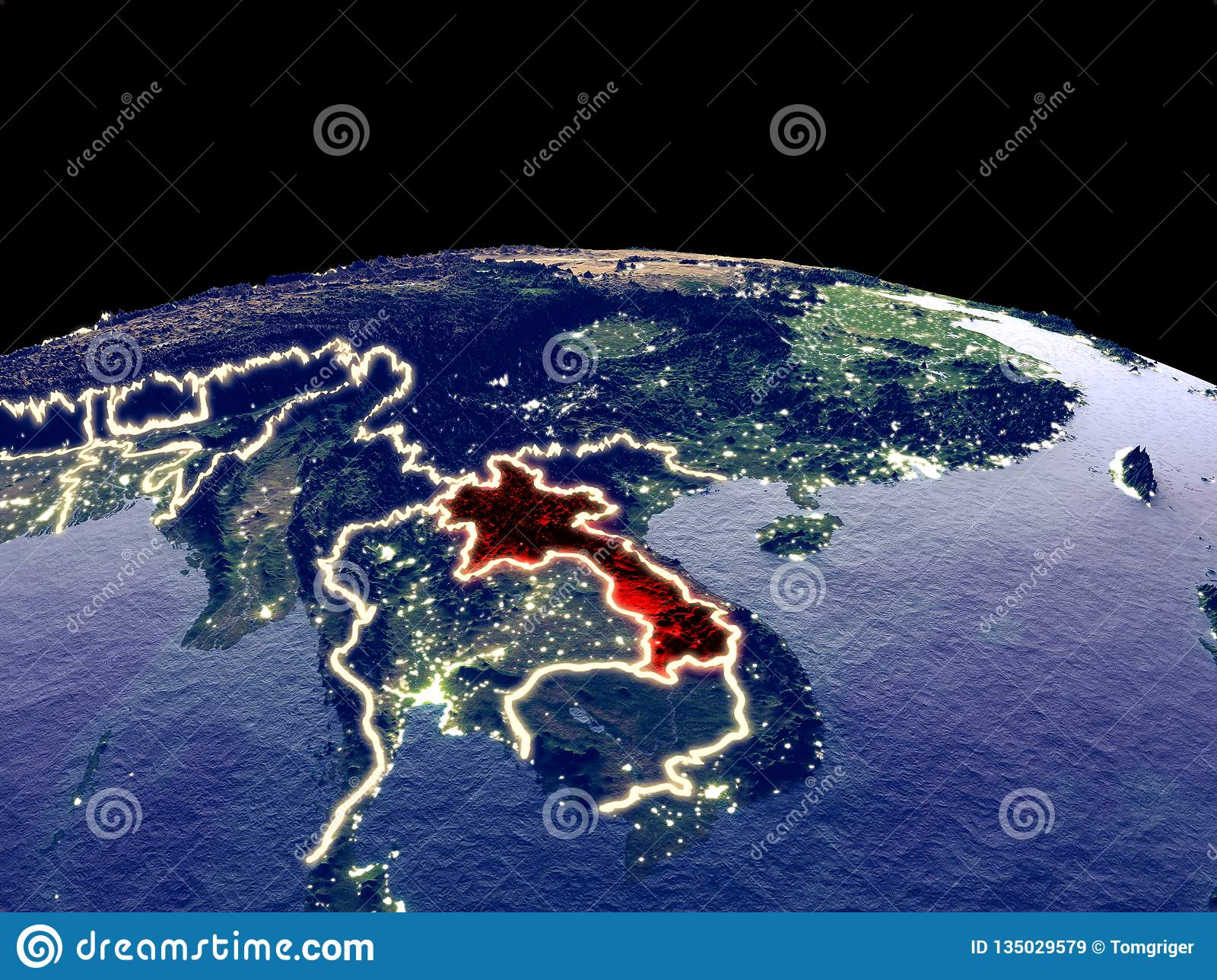 Laos on Earth from space stock illustration  Illustration of