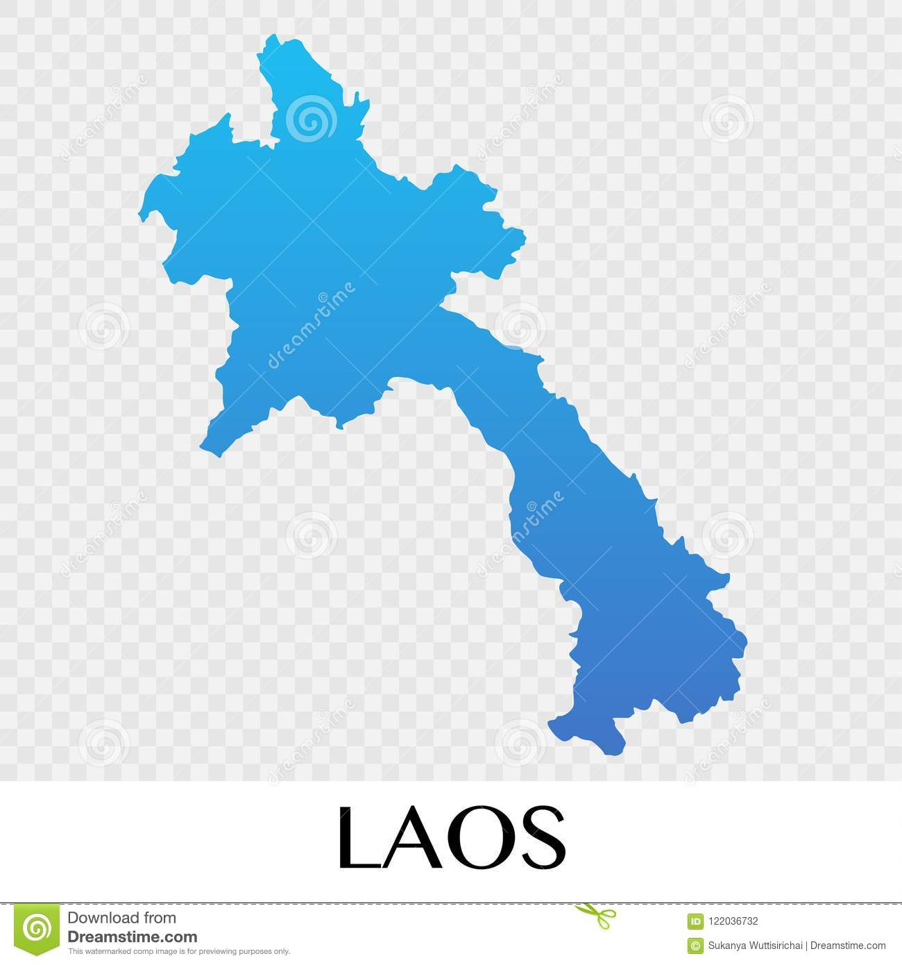 Map Of Asia Continent.Laos Map In Asia Continent Illustration Design Stock Vector