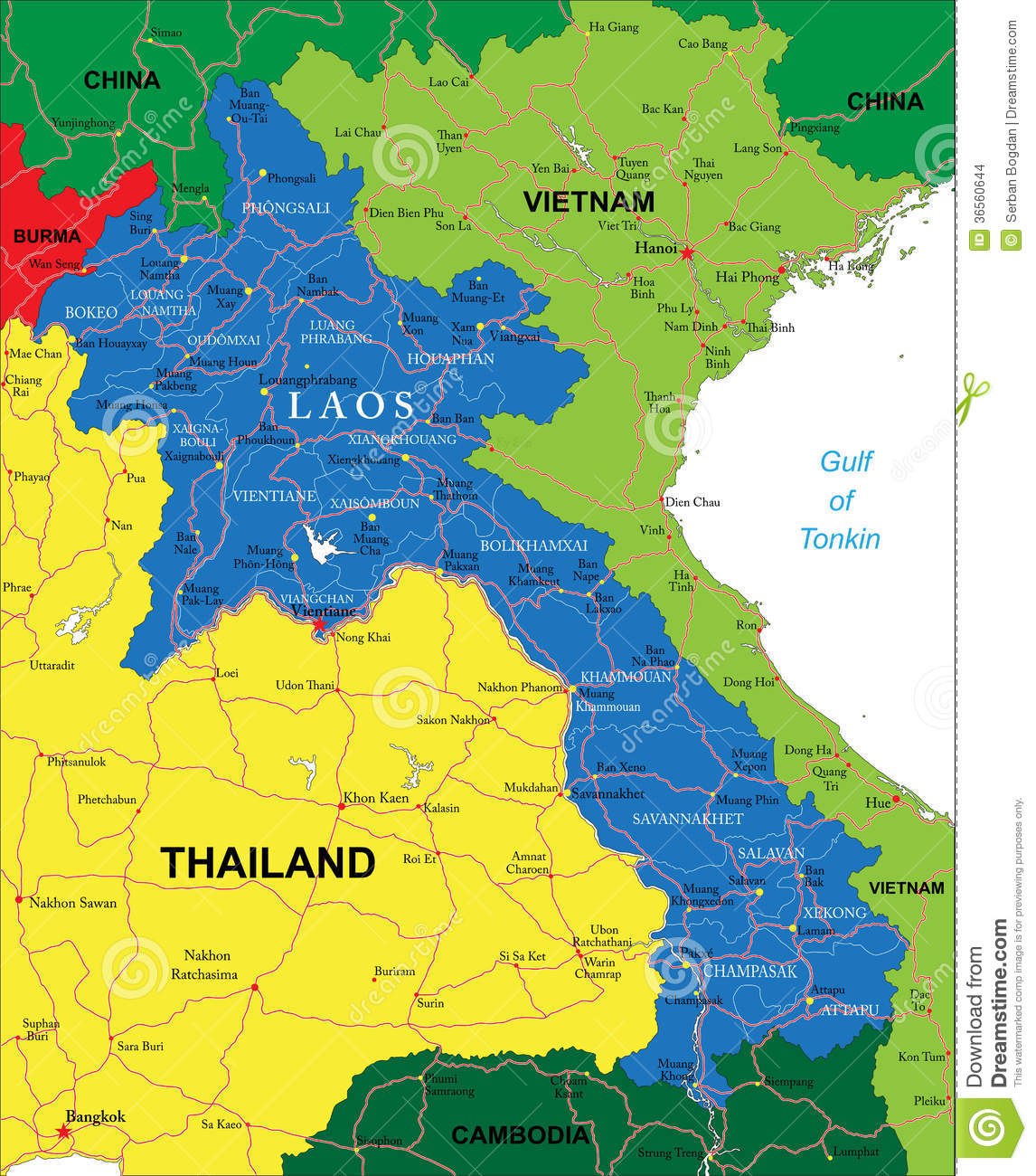 Highly detailed vector map of Laos with administrative regions, main ...