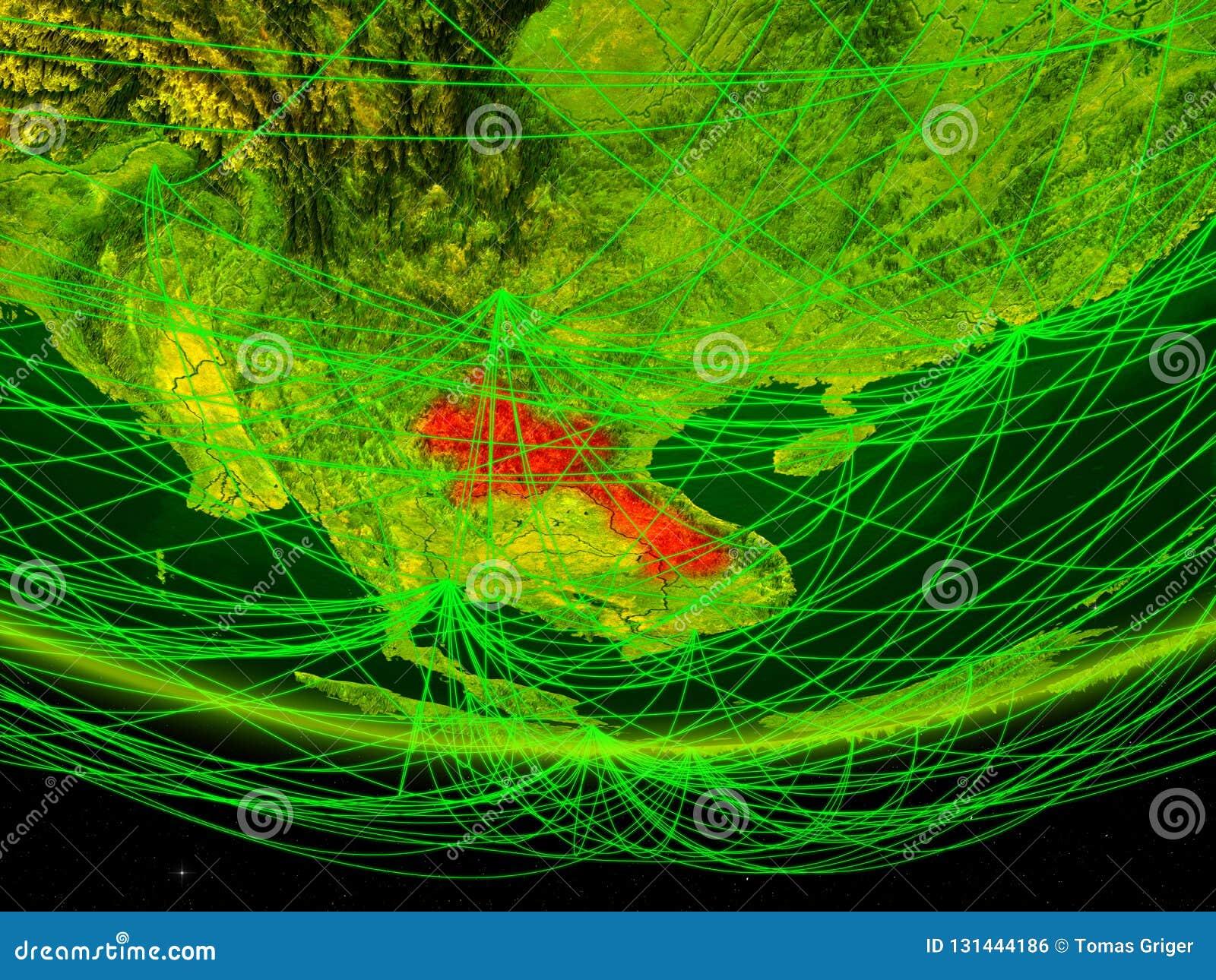 Laos op groen model van aarde met netwerk die digitaal tijdperk, reis en mededeling vertegenwoordigen 3D Illustratie Elementen va