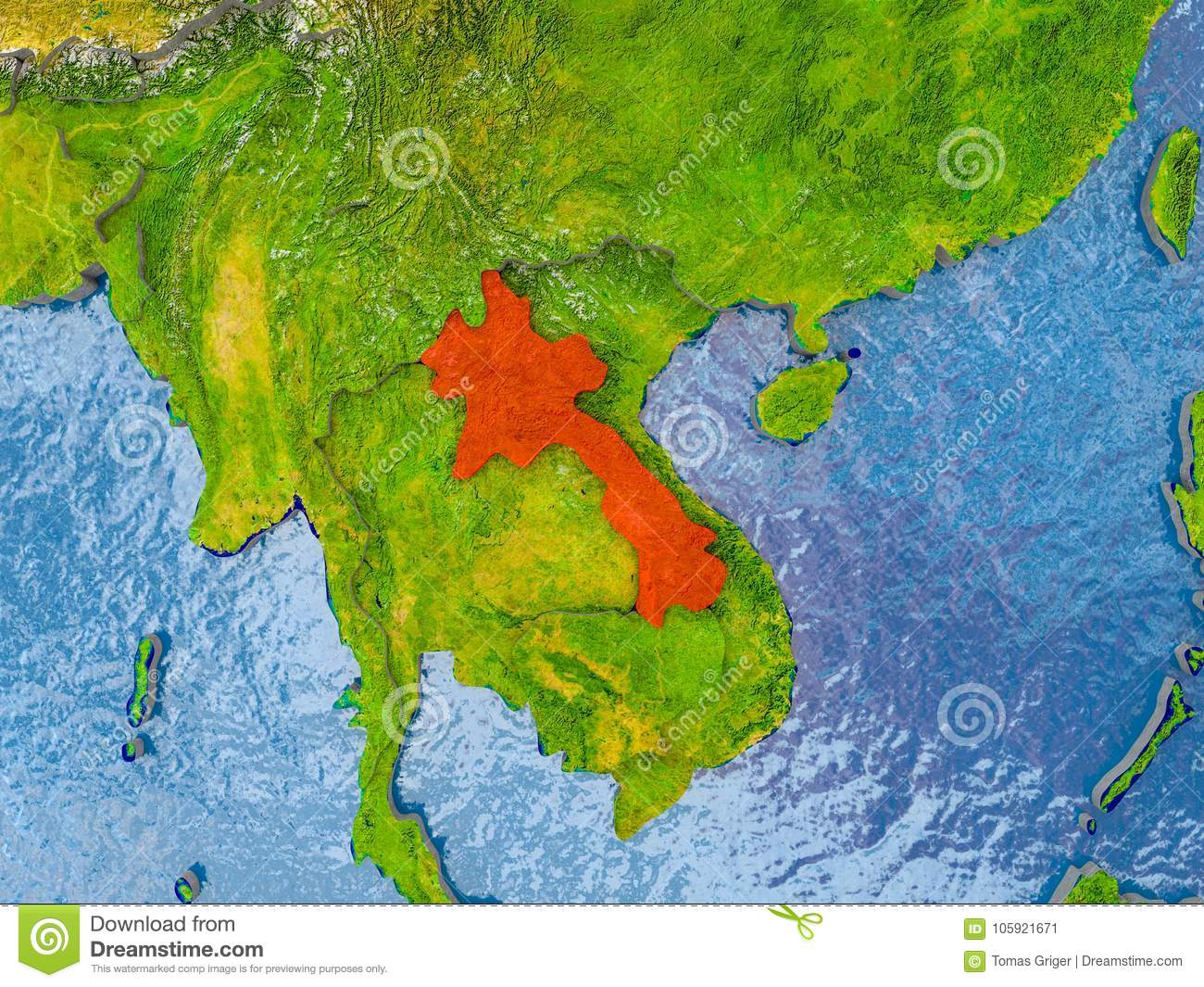 Map of Laos stock illustration. Illustration of laos - 105921671