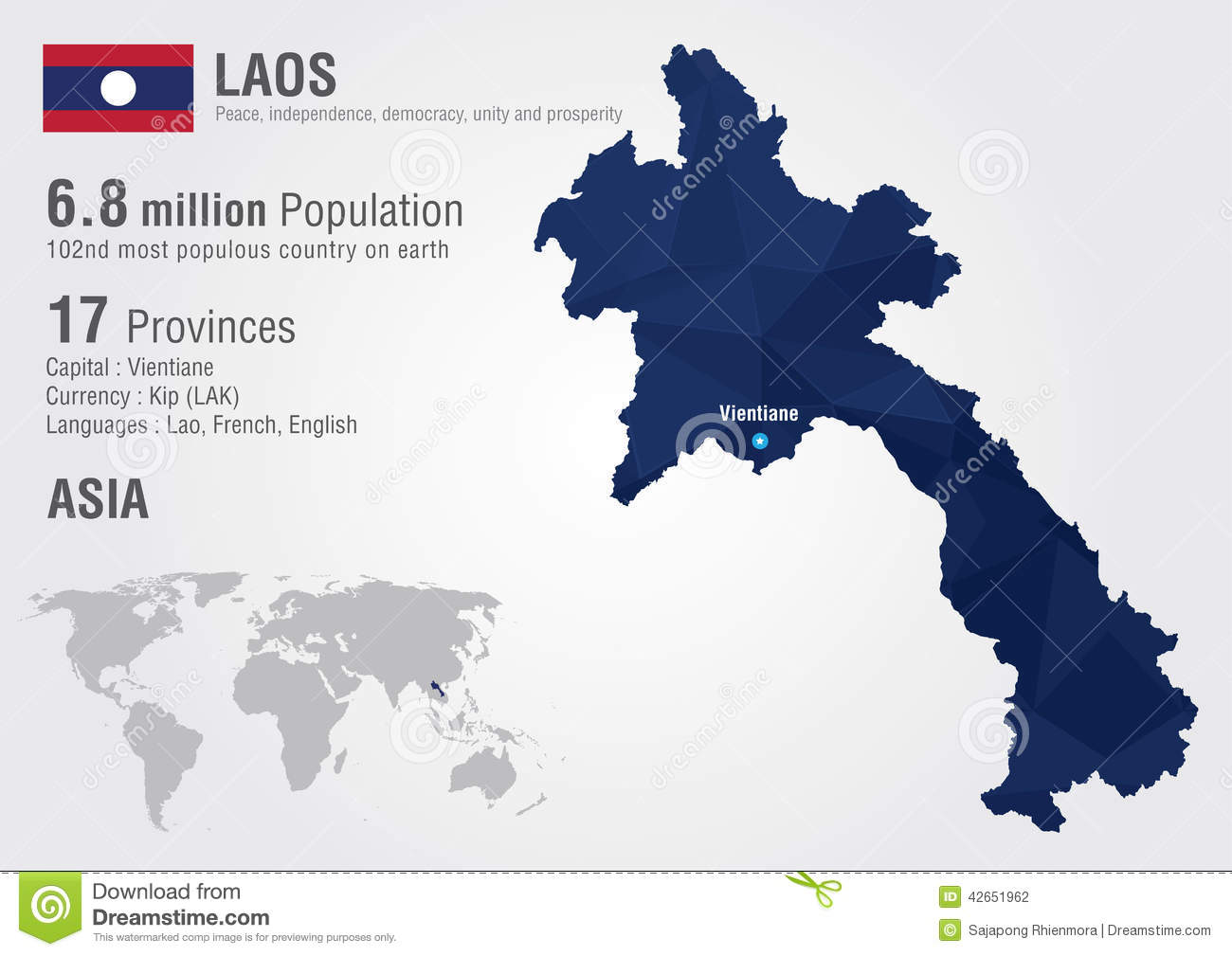 Laos world map with a pixel diamond texture stock vector laos world map with a pixel diamond texture gumiabroncs Gallery