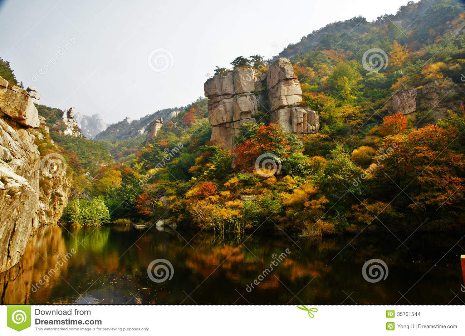 laoshan mountain u0026 39 s beautiful autumn scenery of china stock photo