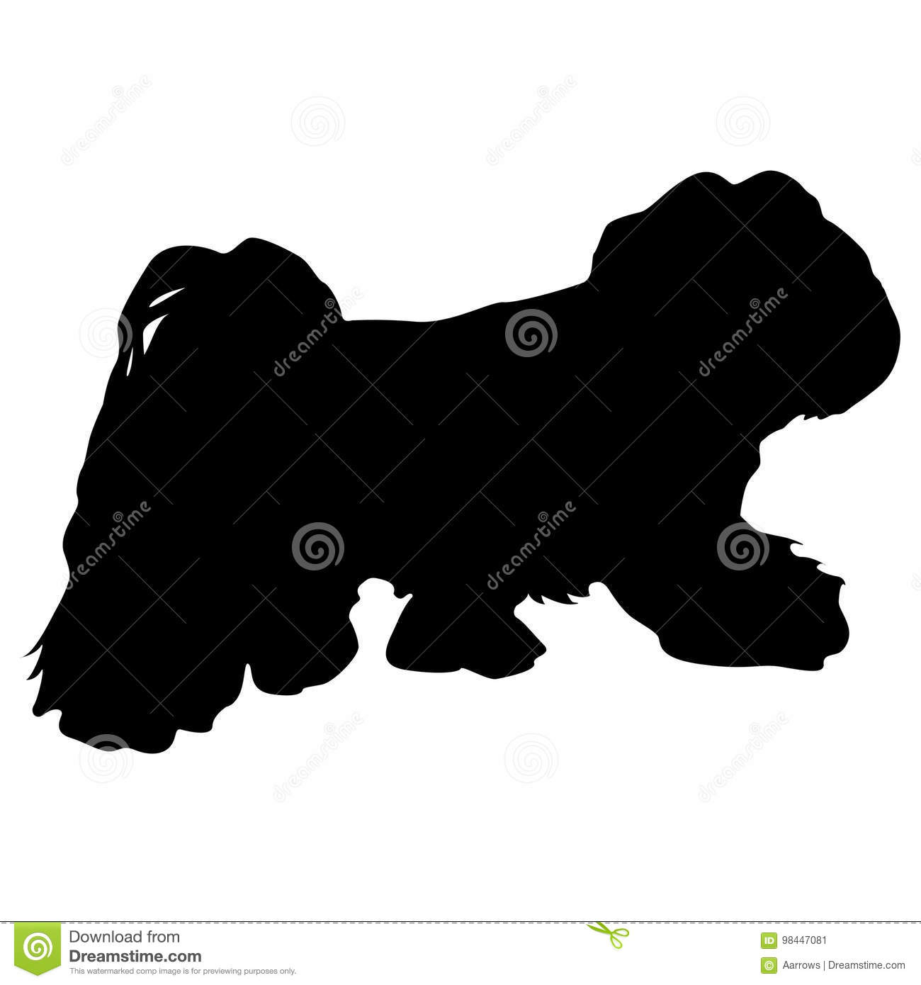Lap dog silhouette on a white background