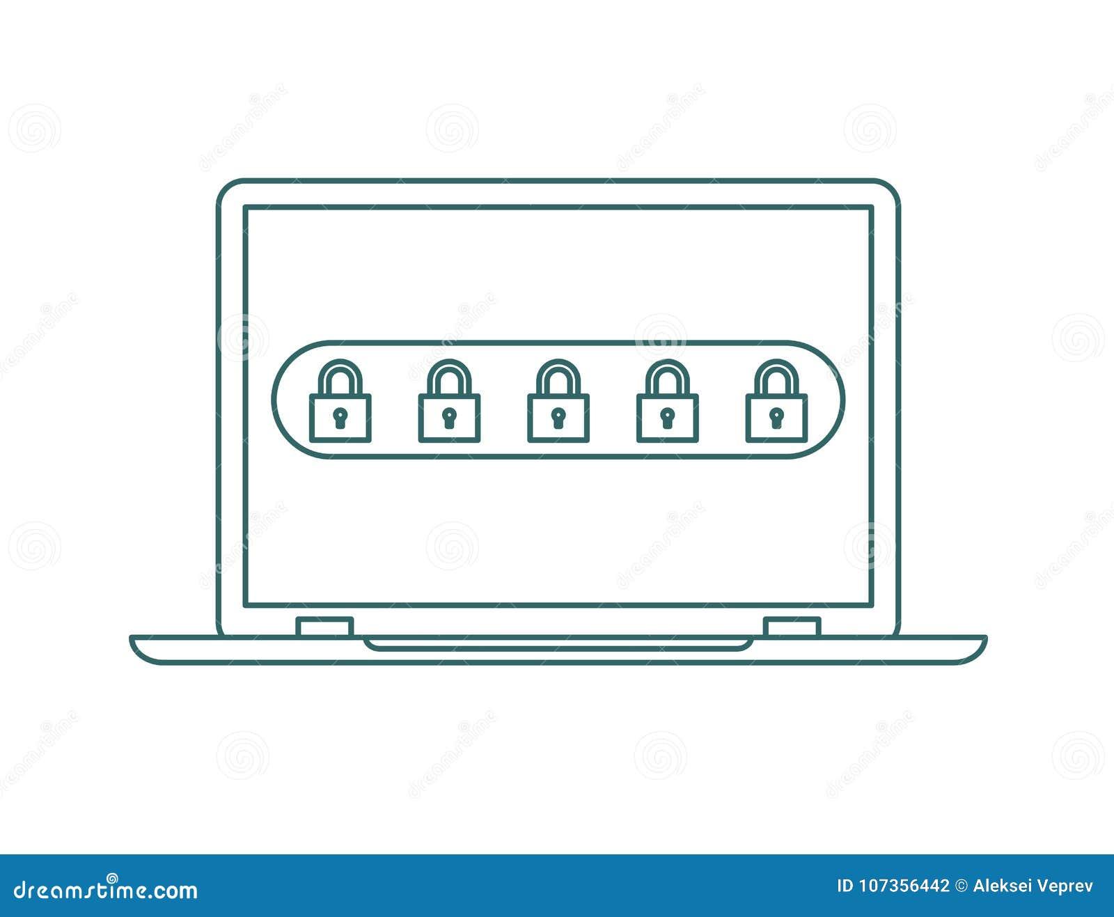 Lap-top με την ανακοίνωση κωδικού πρόσβασης και το εικονίδιο κλειδαριών