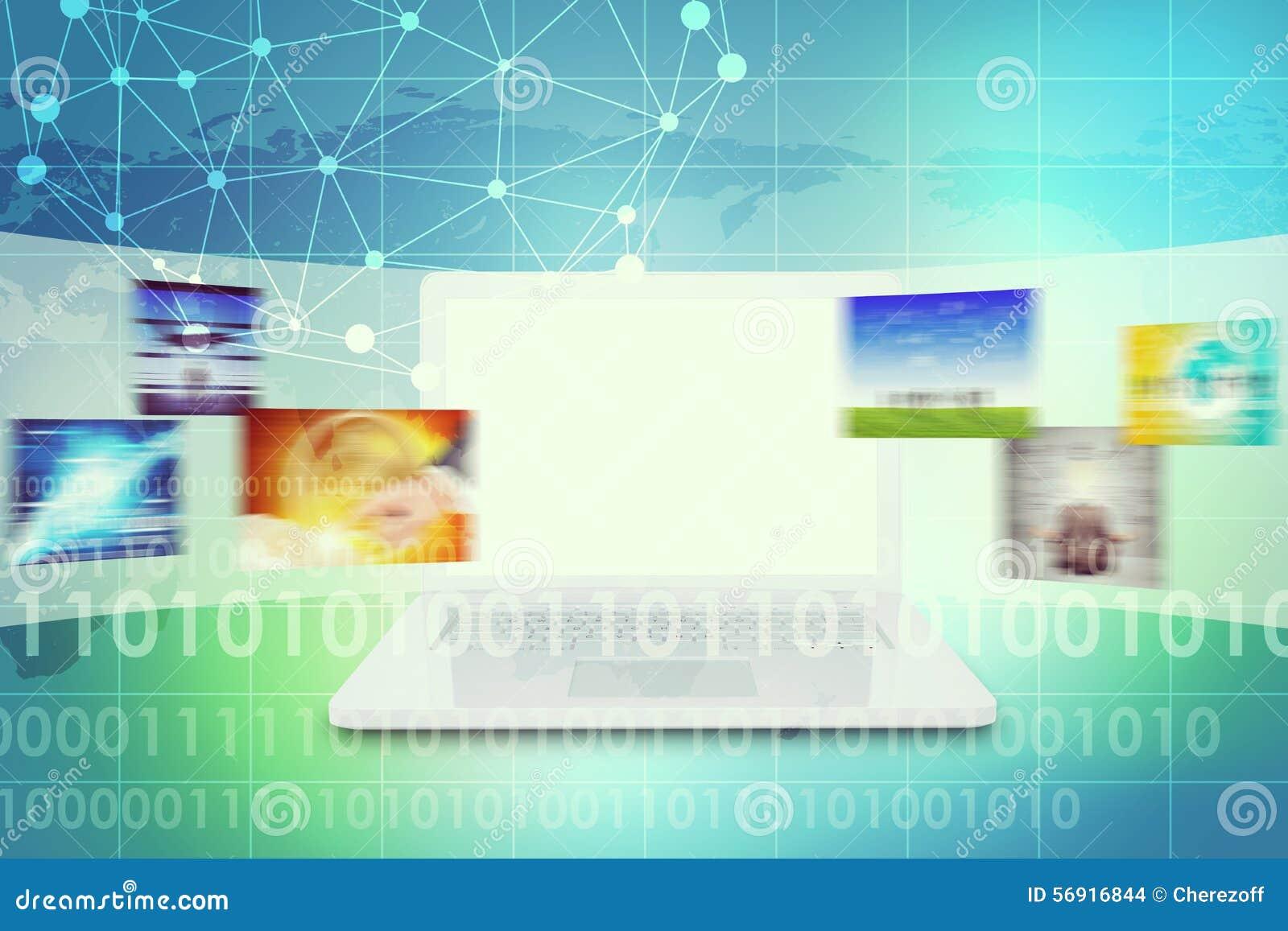 Lap-top με την κενή οθόνη και τις ζωηρόχρωμες εικόνες
