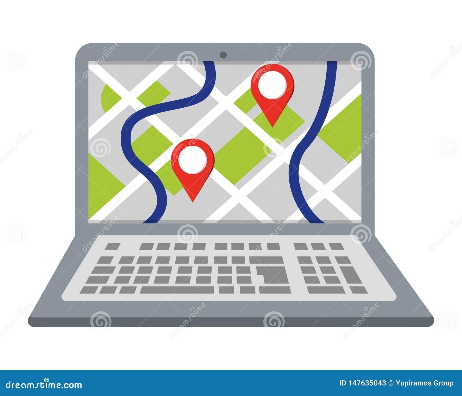Lap-top που παρουσιάζει χάρτη