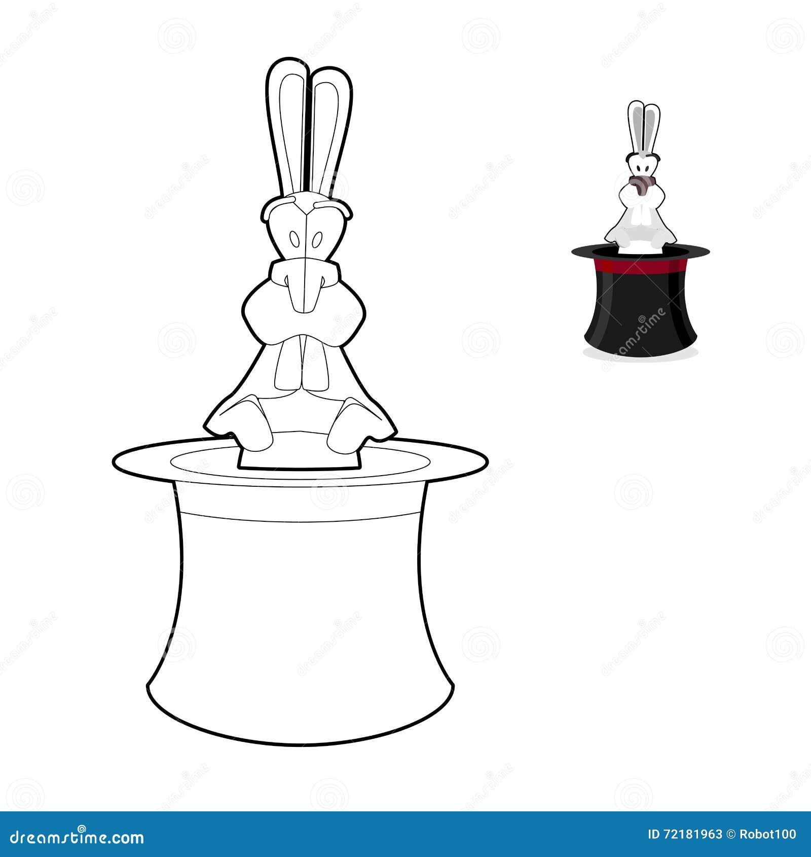 Lapin dans livre de coloriage de chapeau de magicien foyer dans le style lin aire crna - Dessin de chapeau de magicien ...