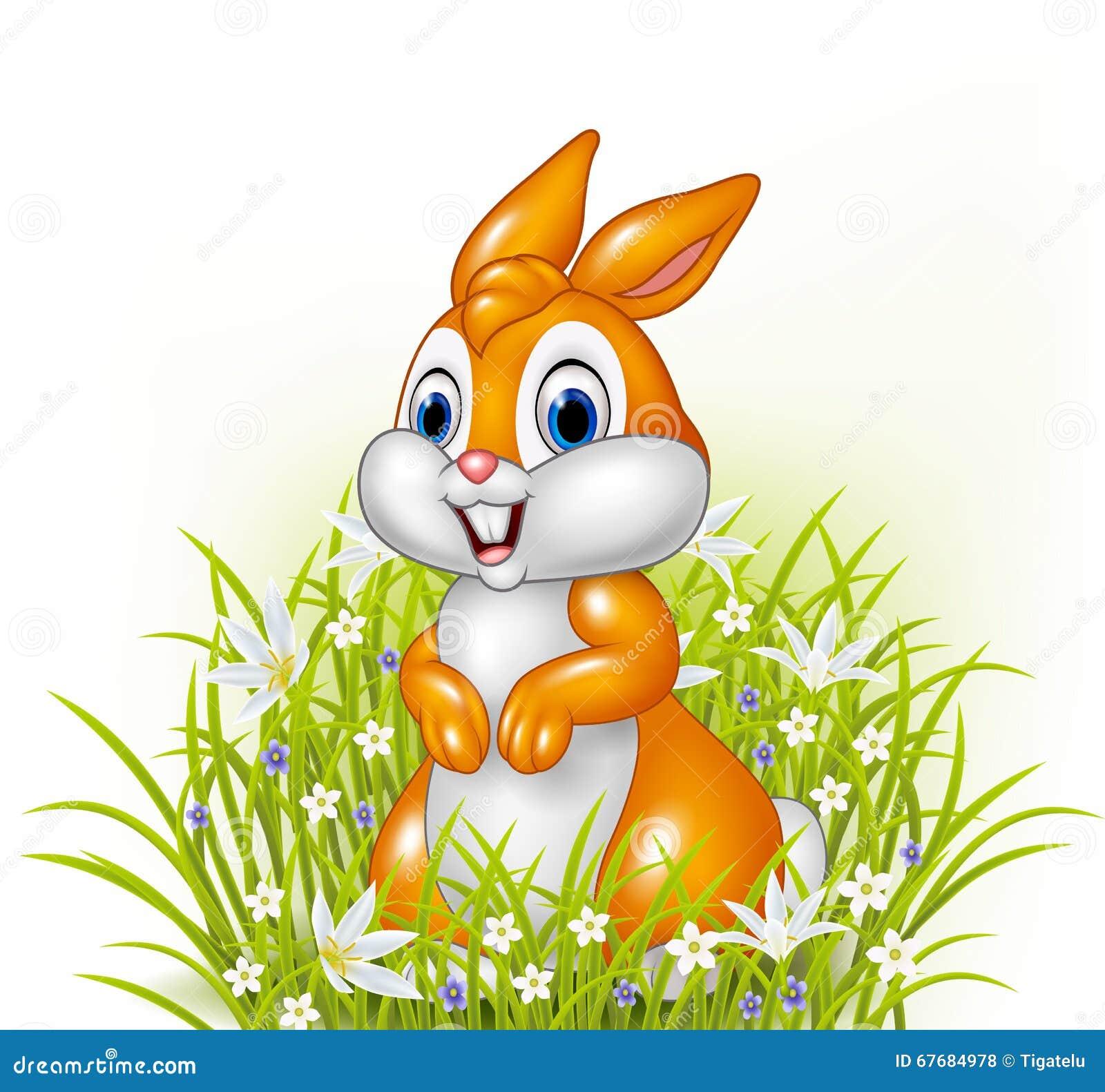 Lapin de bande dessin e sur le fond d 39 herbe illustration - Dessin lapin mignon ...