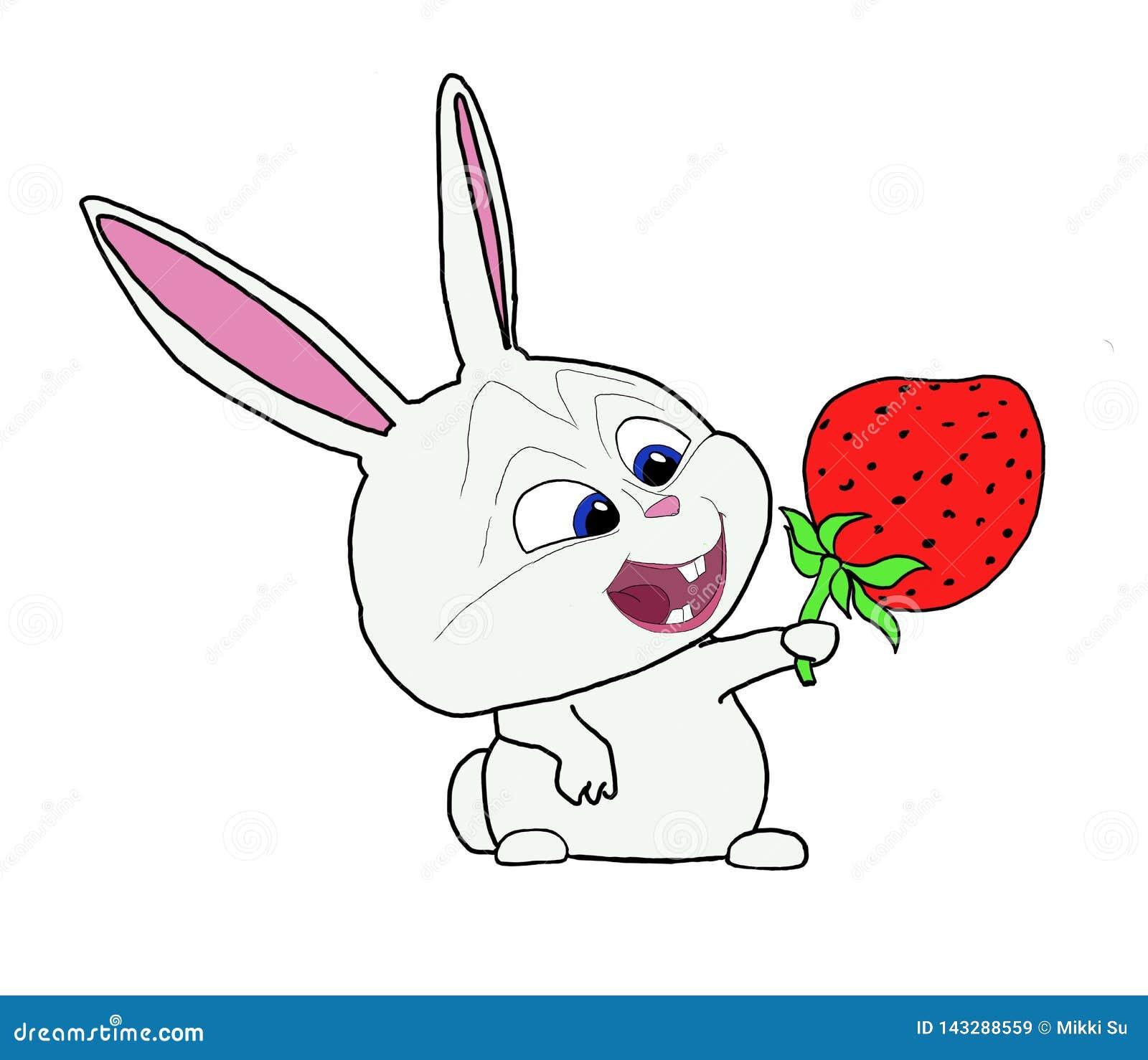 Lapin drôle avec la fraise