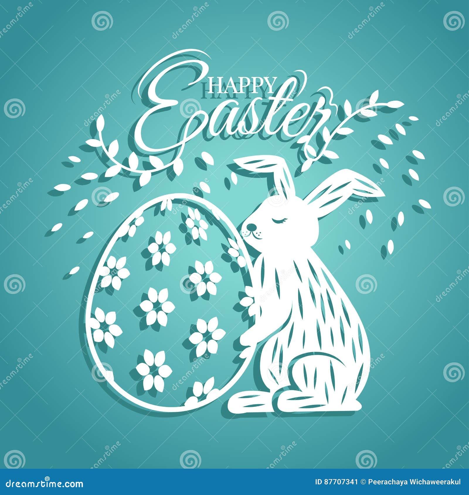 Lapin et oeuf pour la carte de voeux de jour de Pâques