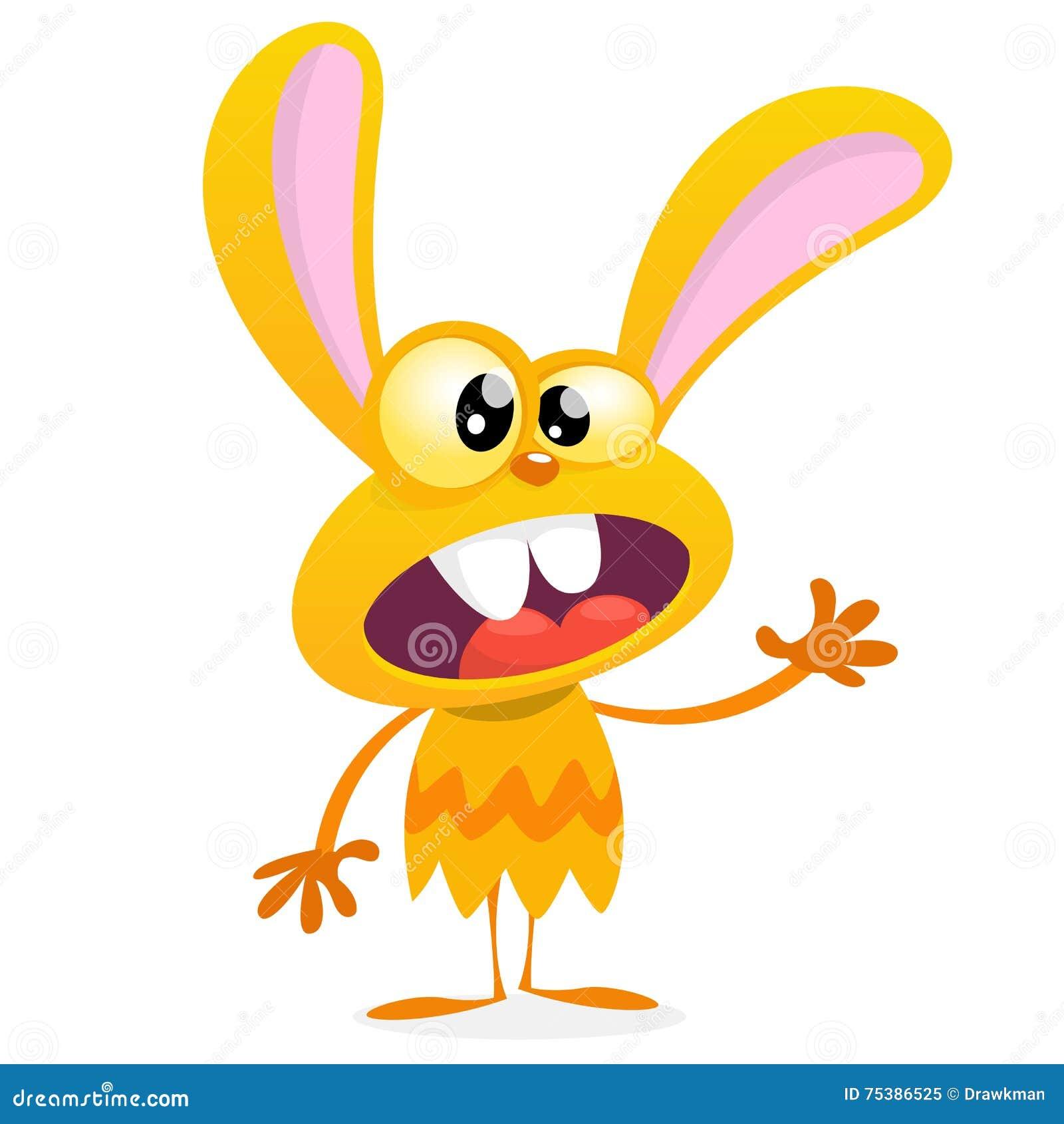 Lapin jaune mignon de monstre Monstre de lapin de vecteur de Halloween avec la grande ondulation d oreilles Sur le blanc