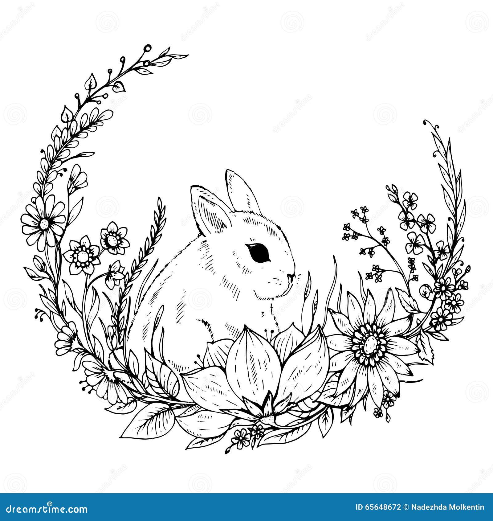 Lapin tiré par la main mignon avec la guirlande des fleurs et des feuilles