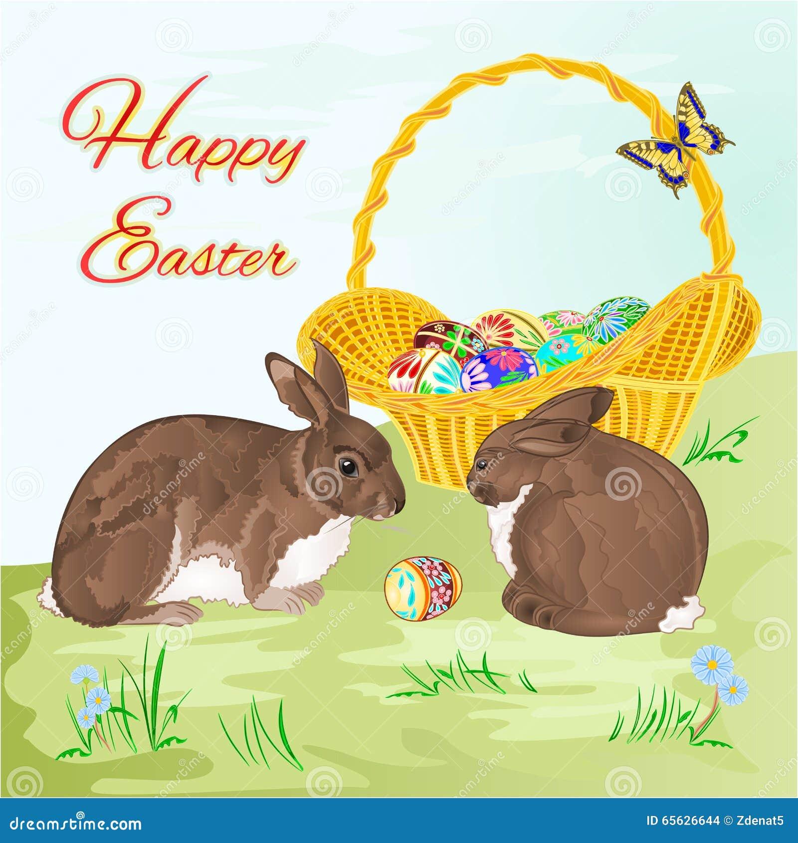 Lapins heureux de Pâques et vecteur de panier de Pâques
