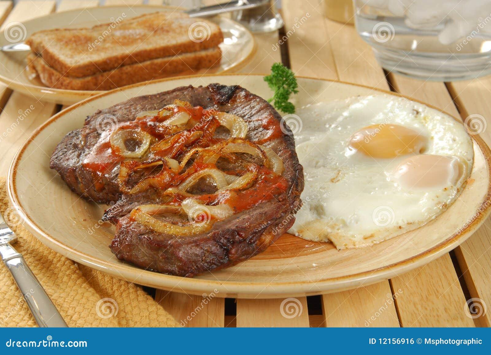 Lapje vlees en eieren