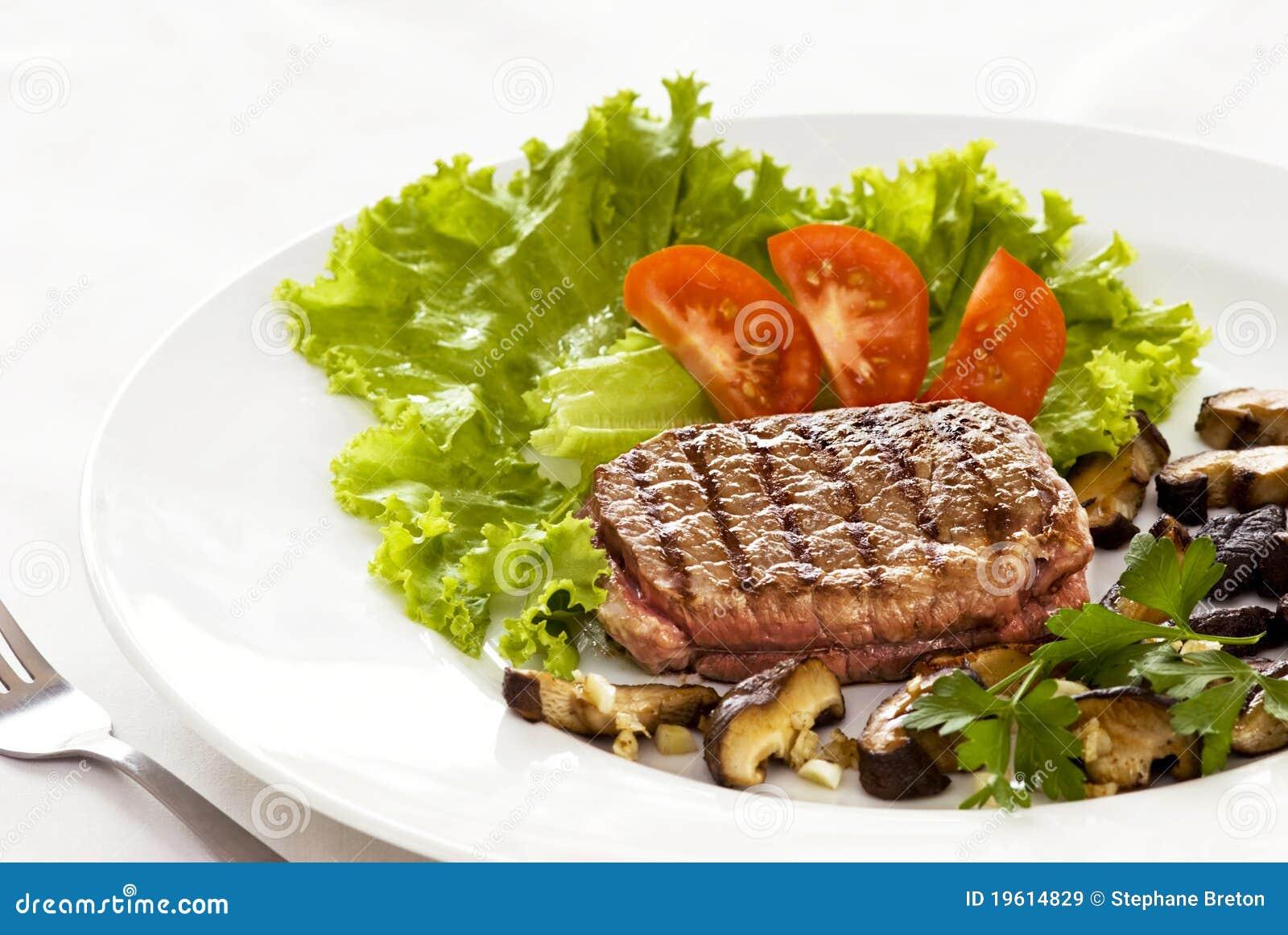 Lapje vlees en Salade