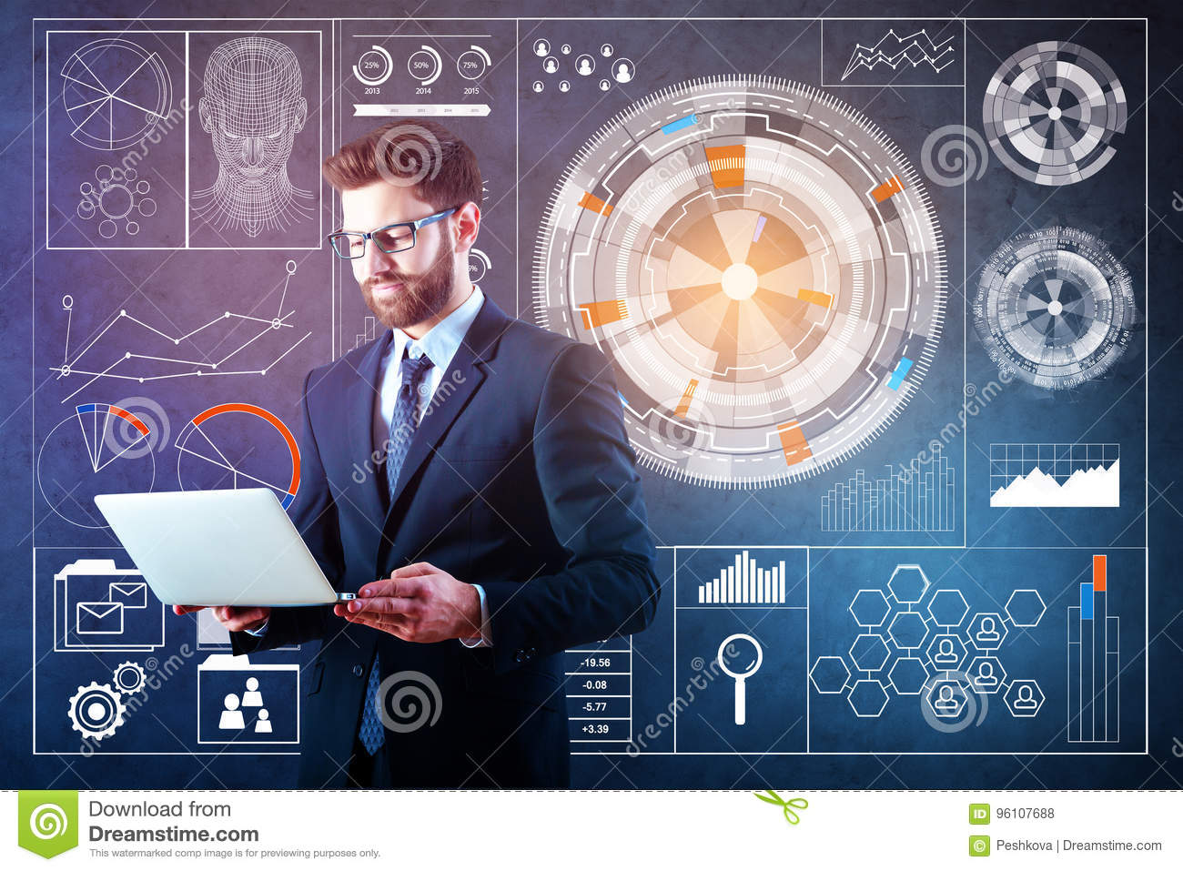 Laptop With Abstract Business Hologram Stock Photo - Image of hands