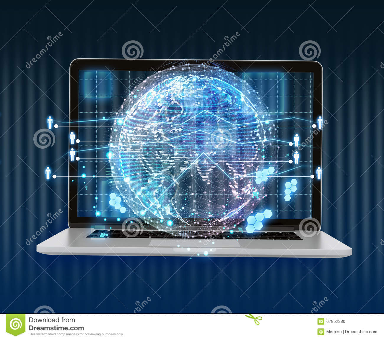 Laptop and abstract digital world map of the global royalty free illustration download laptop and abstract digital world map of the global telecommunications network gumiabroncs Images