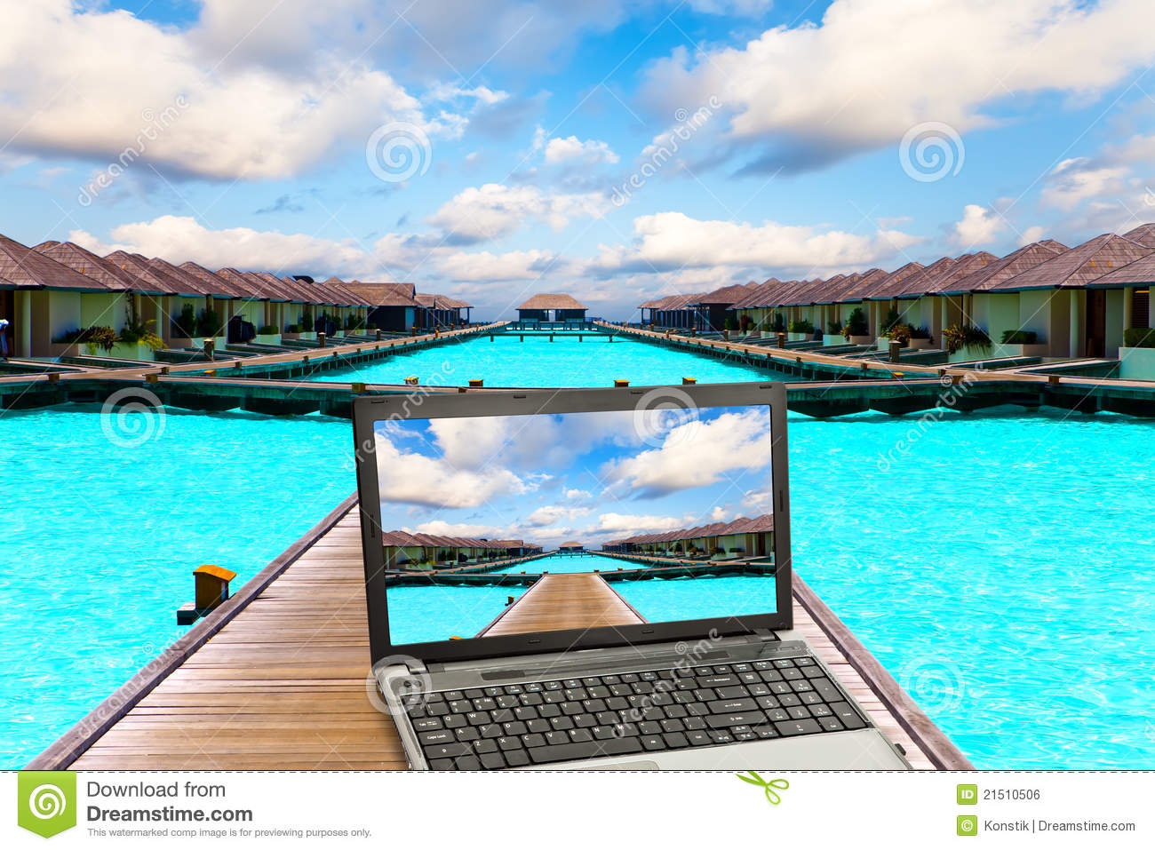 The Laptop On A Beach Royalty Free Stock Image Image