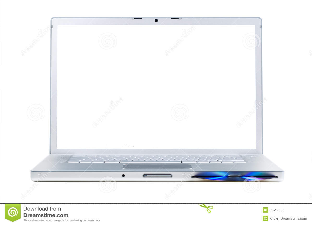 Laptop with blank screen stock illustration. Image of ...