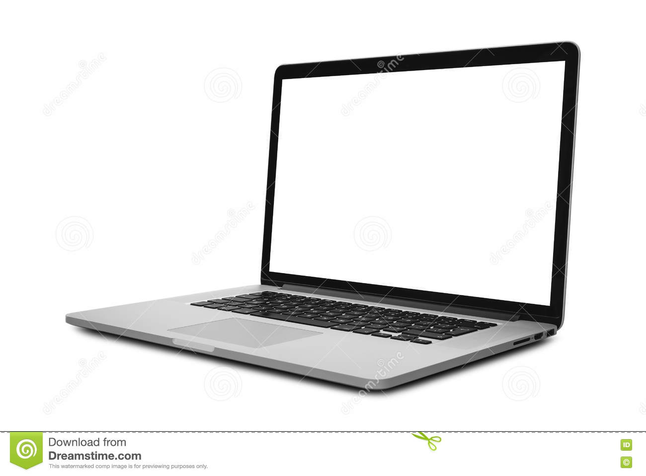 Laptop with blank screen in angled position isolated on white background