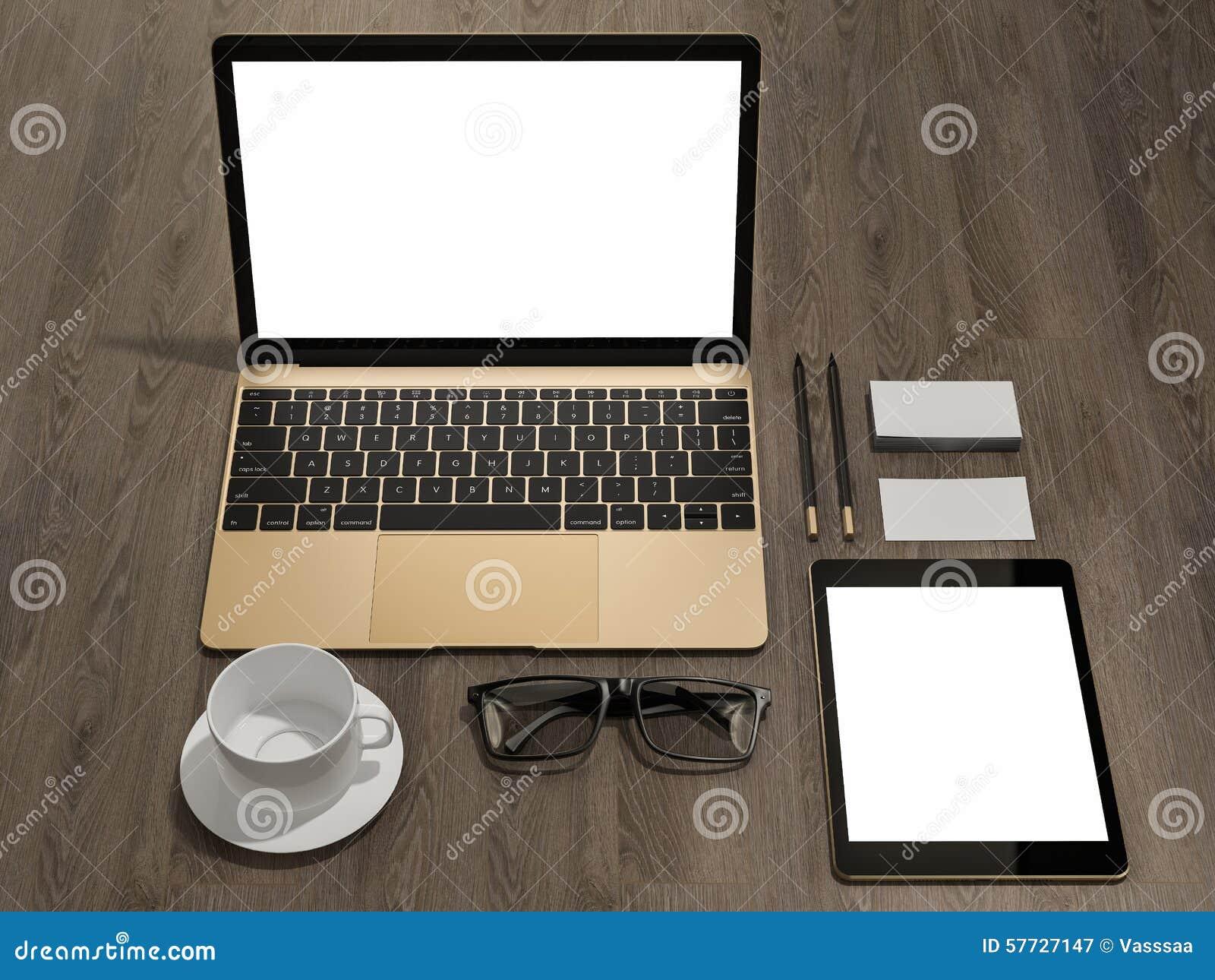 Laptop Branding Mockup Business Cards, Tablet PC Stock Illustration ...