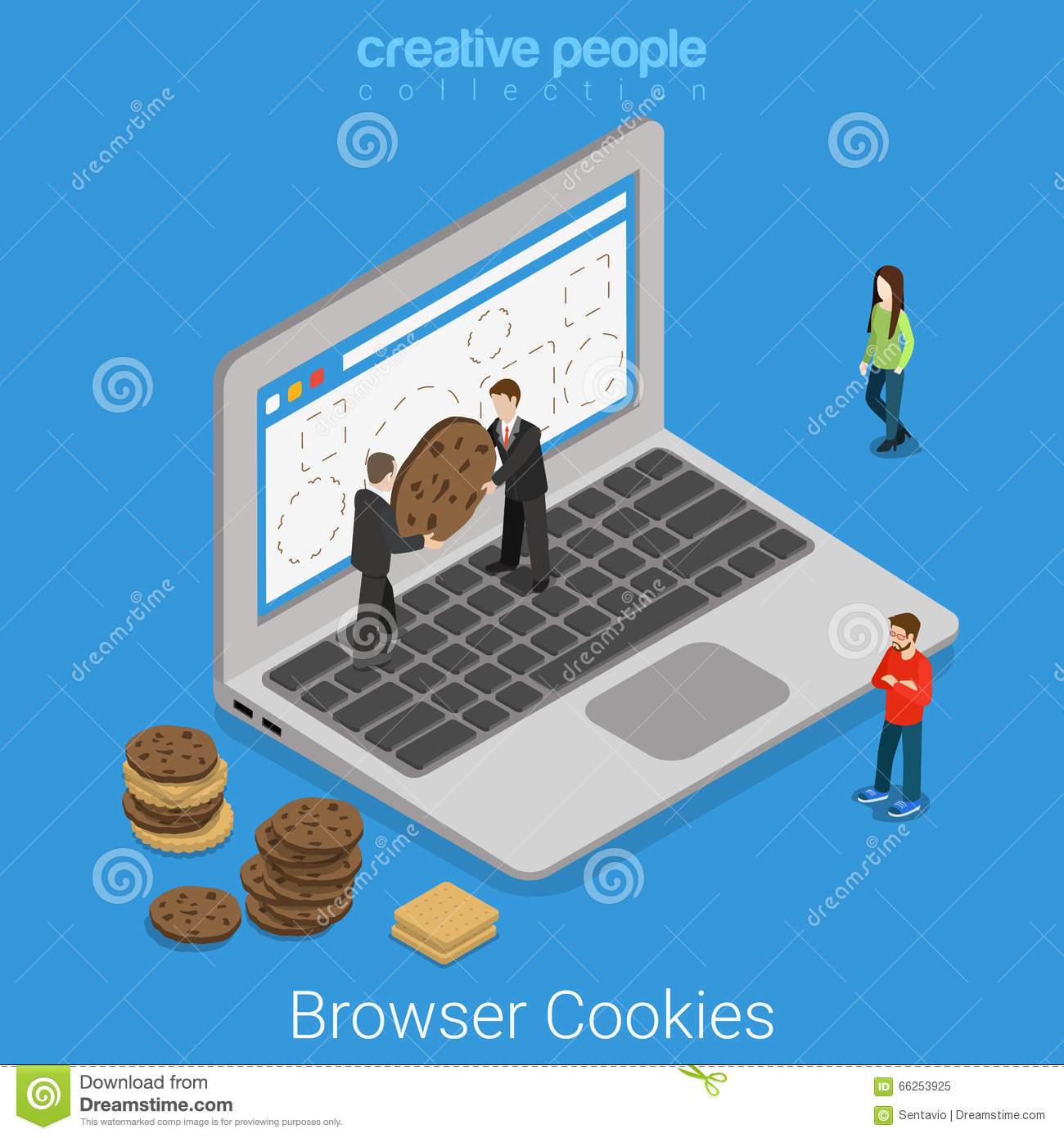 Laptop browser cookie internet technology flat isometric Browser cookies