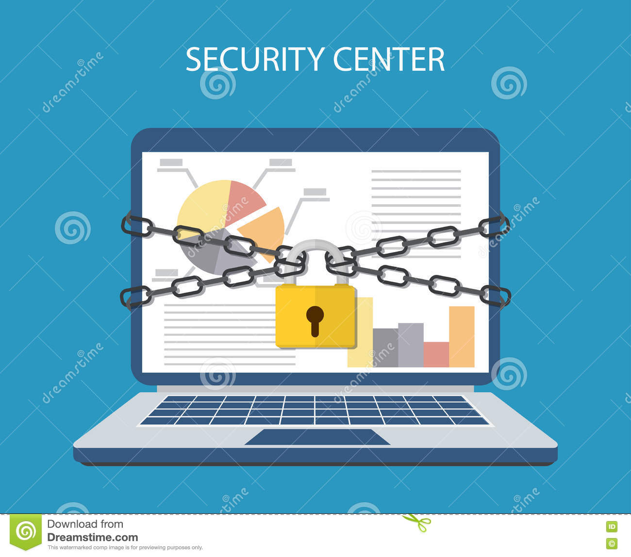Laptop With Chains And Locked A Padlock Stock Vector