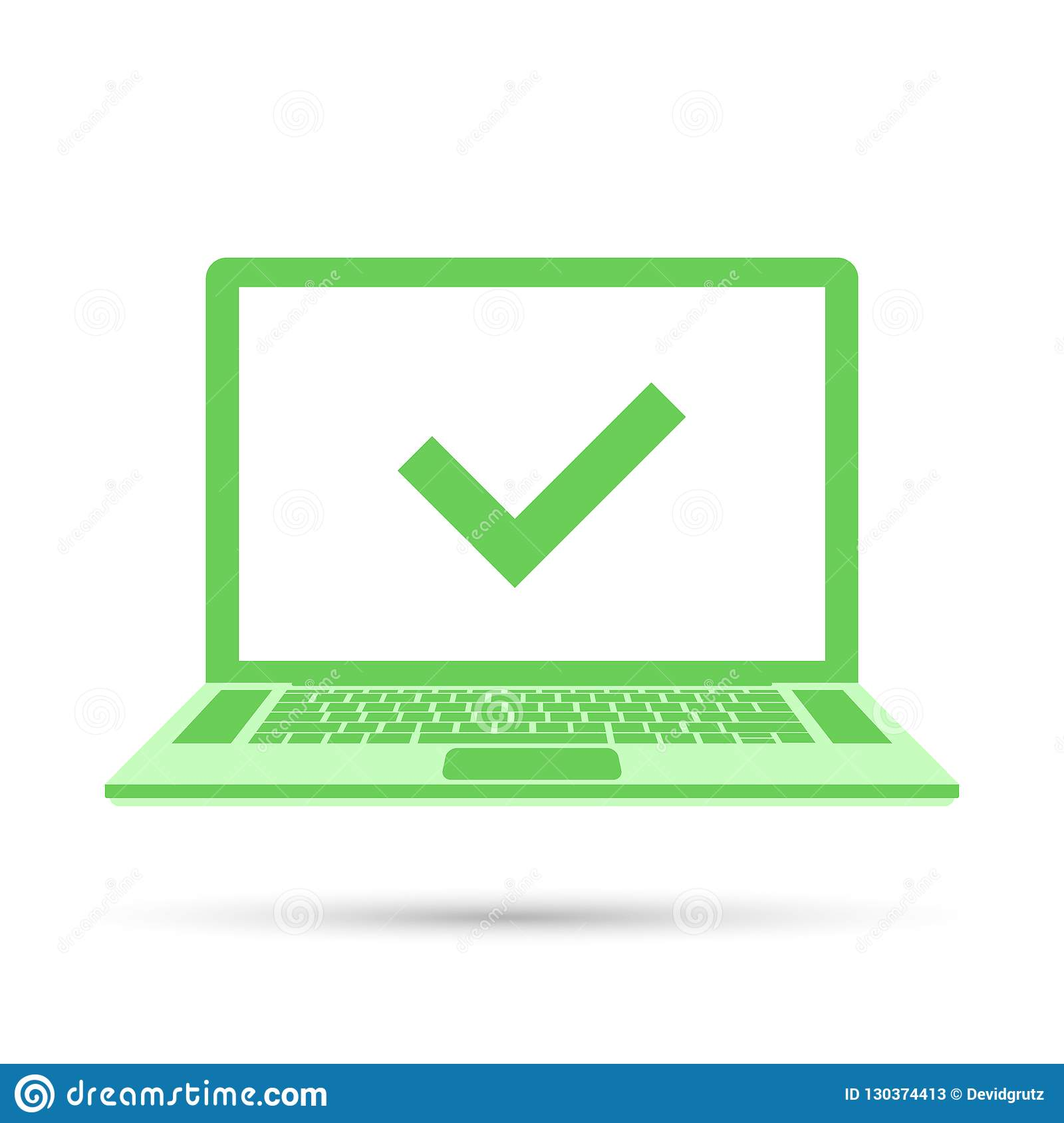 Laptop with check mark on green screen. Ok concept icon. Vector illustration in flat style isolated on white background