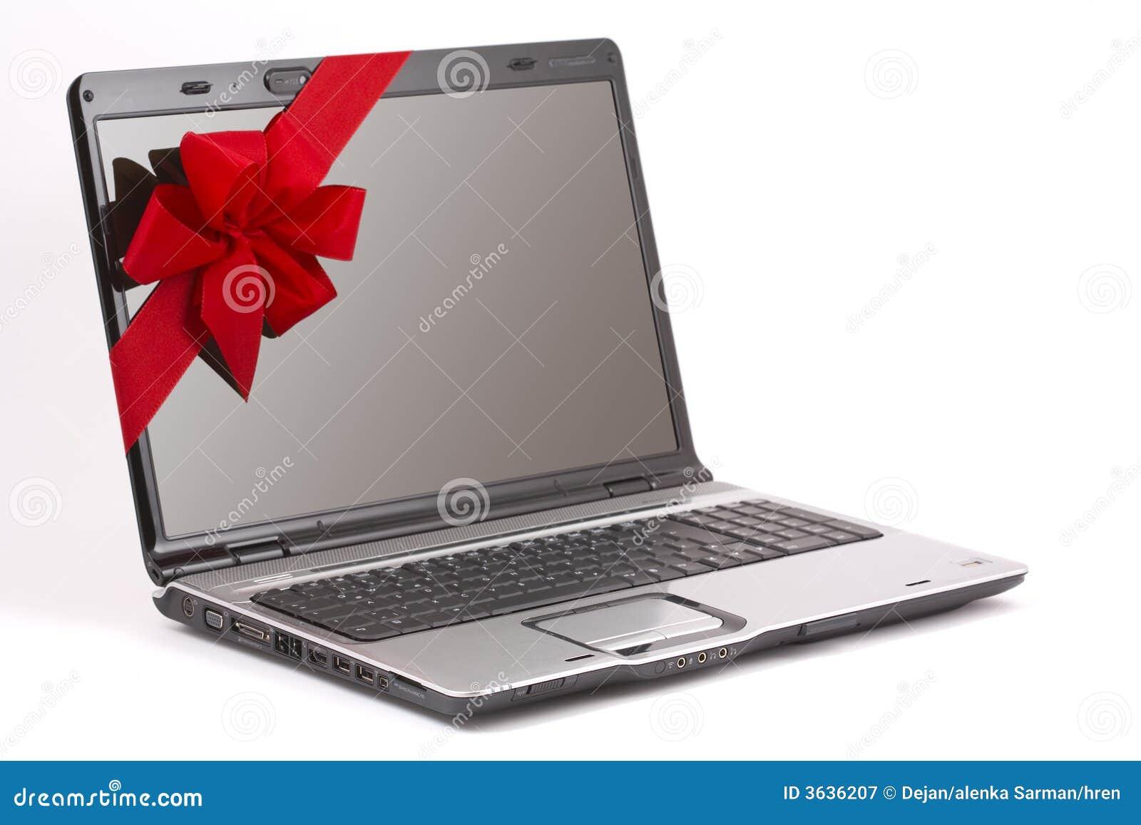 Laptop Christmas Gift stock image. Image of technology ...