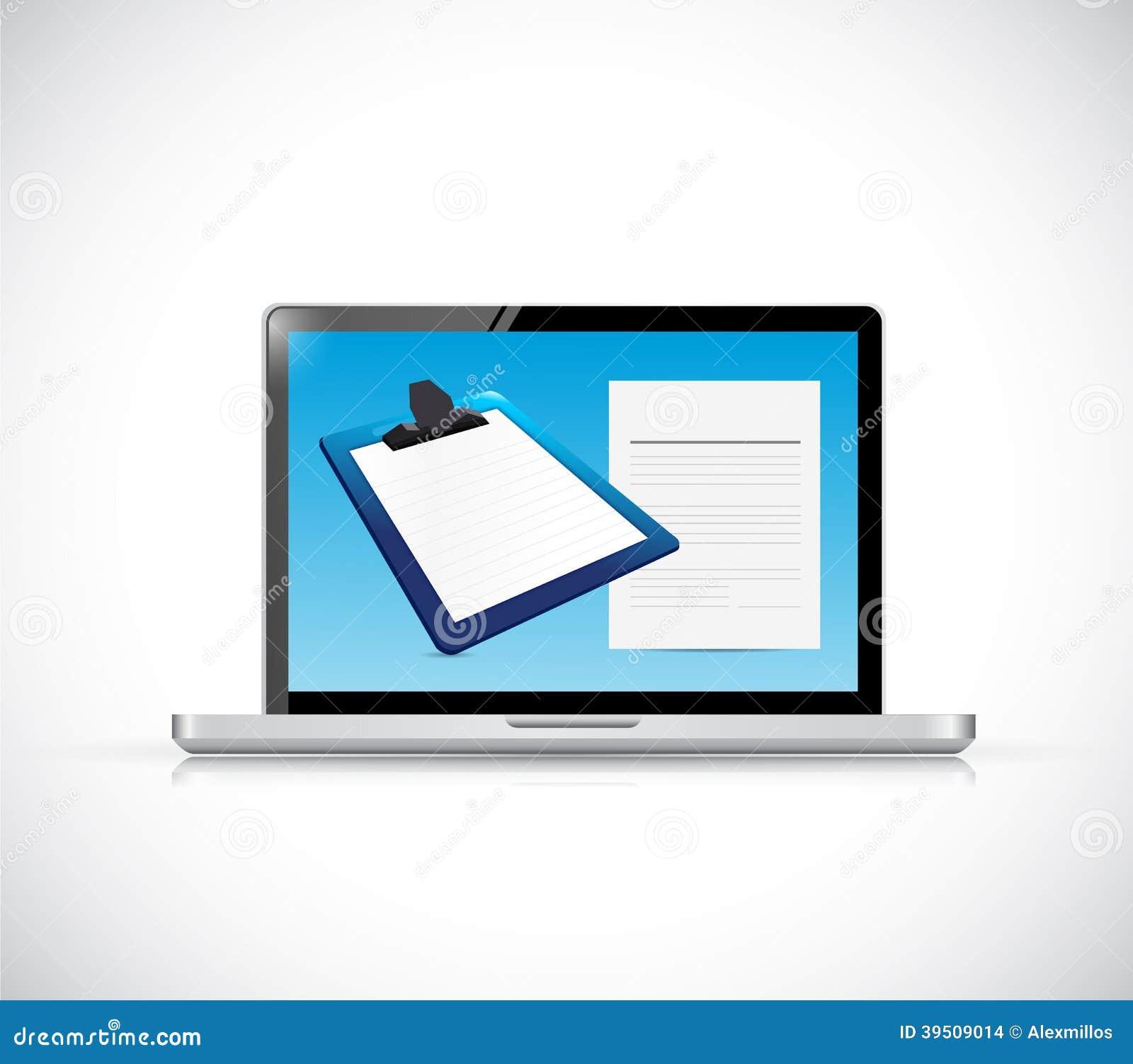 Laptop and clipboard illustration design